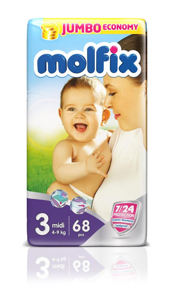 Подгузники Molfix Миди (4-9 кг), 68 шт14910Новинка! Ни для кого не секрет, что каждая мама хочет обеспечить защиту и комфорт для своего малыша. Новые премиальные подгузники Molfix отвечают самым высоким стандартам качества категории и соответствуют ожиданиям даже самых взыскательных мам: они отлично впитывают, тонкие и эластичные, обеспечивают малышам надежную защиту, комфорт и хорошее настроение. Подгузники Molfix дерматологически протестированы и одобрены независимым исследовательским институтом Dermatest GmbH (Германия). Особенности: • Специальный ультра впитывающий слой обеспечивает быстрое впитывание; • Тонкая анатомическая структура для комфорта малыша; • Ультра эластичные боковинки обеспечивают свободу движений; • «Дышащий» внешний слой и ультра мягкий внутренний слой для заботы о коже малыша; • Защитные барьерчики обеспечивают защиту от протеканий. В каждой упаковке подгузников Molfix веселые и красочные дизайны на подгузниках!