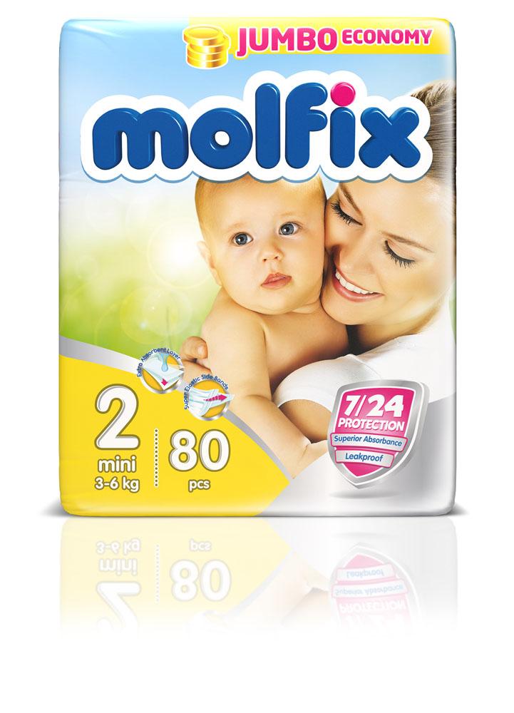 Molfix Подгузники Мини 3-6 кг 80 шт17541Новинка! Ни для кого не секрет, что каждая мама хочет обеспечить защиту и комфорт для своего малыша. Новые премиальные подгузники Molfix отвечают самым высоким стандартам качества категории и соответствуют ожиданиям даже самых взыскательных мам: они отлично впитывают, тонкие и эластичные, обеспечивают малышам надежную защиту, комфорт и хорошее настроение. Подгузники Molfix дерматологически протестированы и одобрены независимым исследовательским институтом Dermatest GmbH (Германия). Особенности: • Специальный ультра впитывающий слой обеспечивает быстрое впитывание; • Тонкая анатомическая структура для комфорта малыша; • Ультра эластичные боковинки обеспечивают свободу движений; • «Дышащий» внешний слой и ультра мягкий внутренний слой для заботы о коже малыша; • Защитные барьерчики обеспечивают защиту от протеканий. В каждой упаковке подгузников Molfix веселые и красочные дизайны на подгузниках!