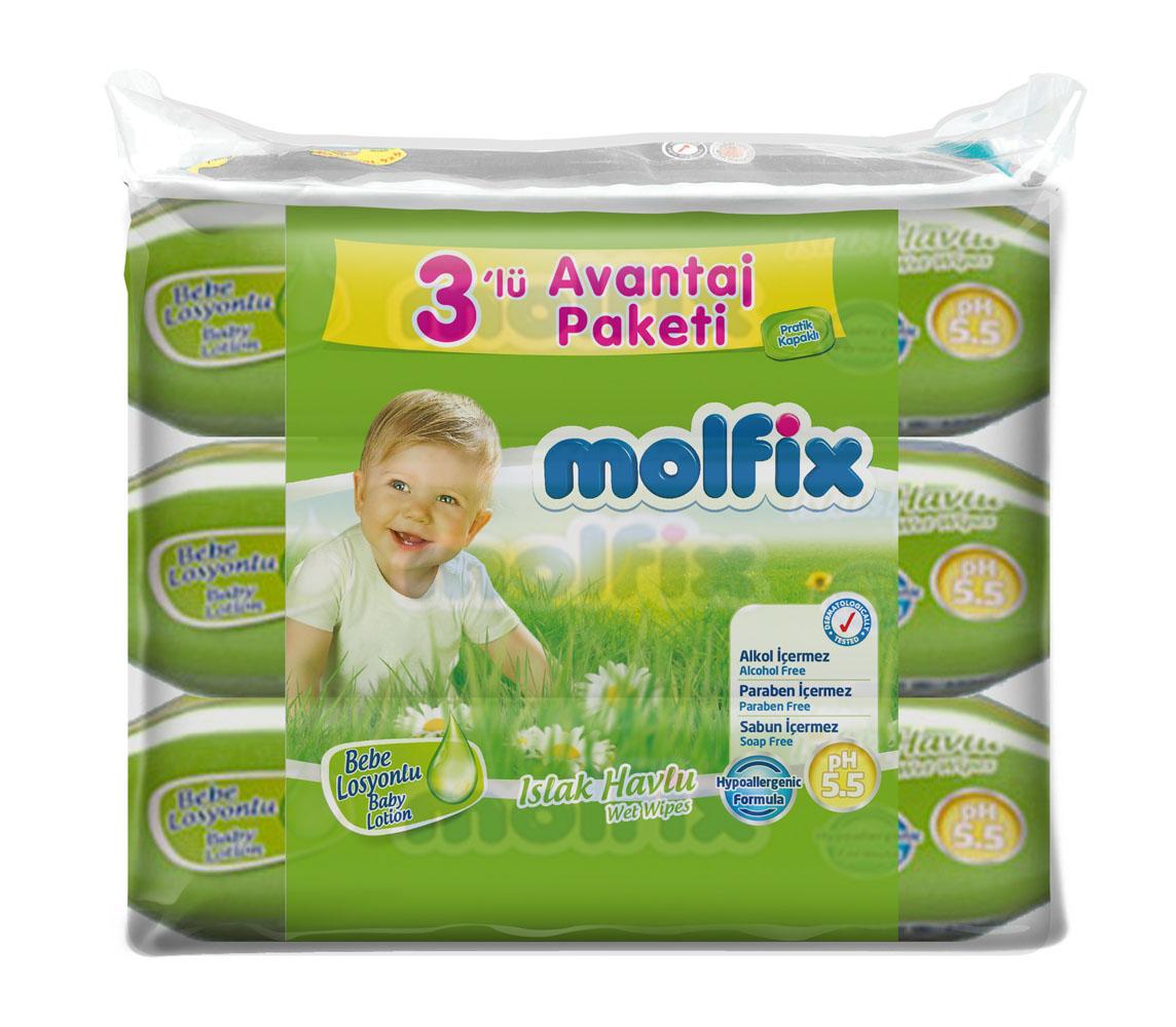 Molfix Влажные детские салфетки, с лосьоном, 3х63 шт