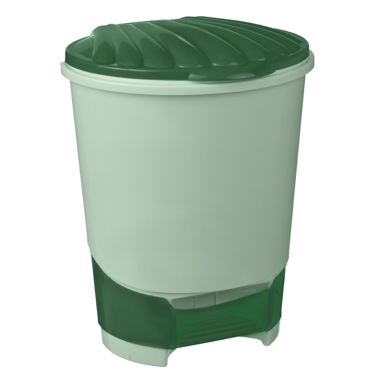 Ведро для мусора Альтернатива, с педалью, цвет: зеленый, 10 лМ1379Ведро для мусора Альтернатива, выполненное из прочного пластика, обеспечит долгий срок службы и легкую чистку. Ведро поможет вам держать мелкий мусор в порядке и предотвратит распространение неприятного запаха. Откидная пластиковая крышка открывается и закрывается при помощи педали.