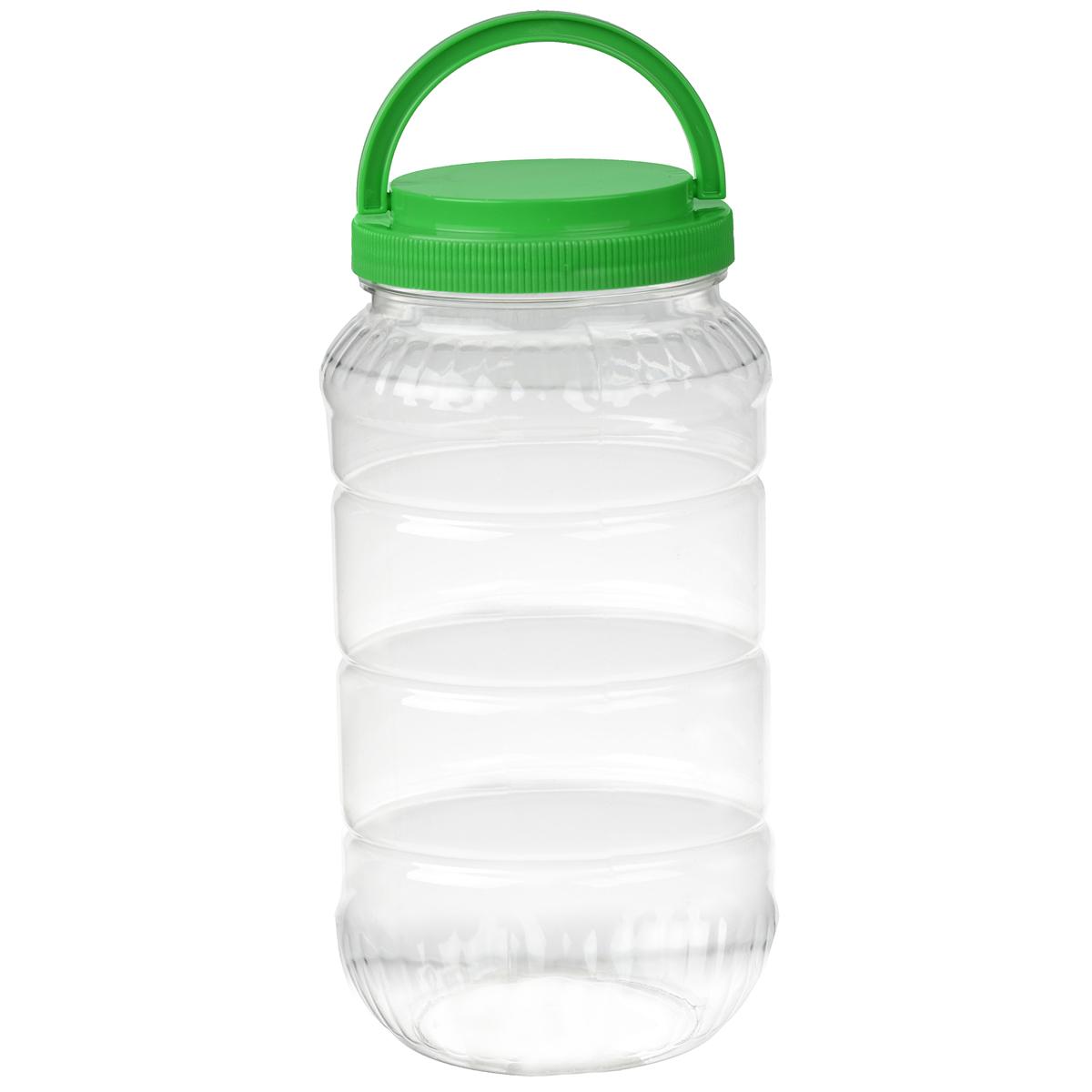 Емкость Альтернатива, с ручкой, цвет: зеленый, 3 лM957Емкость Альтернатива предназначена для хранения сыпучих продуктов или жидкостей. Выполнена из высококачественного пластика. Оснащена ручкой для удобной переноски. Диаметр: 10,5 см. Высота (без учета крышки): 25 см.