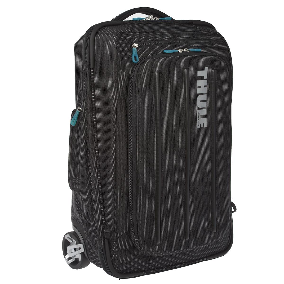 Thule. Сумка-рюкзак, Crossover, TCRU-115, нейлон, черный, 38 лTH_TR_TCRU-115Благодаря своей конструкции, сумка-рюкзак Thule Crossover станет незаменимым помощником в путешествиях. Особенности: Верхний карман с мягкой прокладкой подойдет для 15-дюймового MacBook Pro или ноутбука. С помощью потайных ремней вы сможете легко и быстро надеть сумку на плечи. Колеса не касаются спины, когда сумка-тележка используется как рюкзак, что обеспечивает чистоту и комфорт во время путешествия. Облегченный, но прочный материал также является водостойким. Надежный экзоскелет и задняя обшивка из полипропилена обеспечат надежную защиту во время путешествий в самых сложных условиях. Крепкие колеса увеличенного размера и телескопические ручки с технологией Thule V-Tubing™ гарантируют мягкое, плавное и ровное движение в течение многих лет. Изготовленное по технологии горячей прессовки ударопрочное отделение SafeZone защитит ваши солнечные очки, iPhone, портативную электронику и другие хрупкие вещи Приподнятые направляющие...
