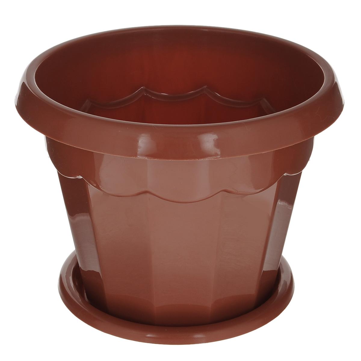 Горшок для цветов Альтернатива Гармония, с поддоном, цвет: коричневый, 2,5 л, диаметр 18,5 смМ1575Цветочный горшок Альтернатива Гармония выполнен из пластика предназначен для выращивания в нем цветов, растений и трав. Такой горшок порадует вас современным дизайном и функциональностью, а также оригинально украсит интерьер помещения. К горшку прилагается поддон.