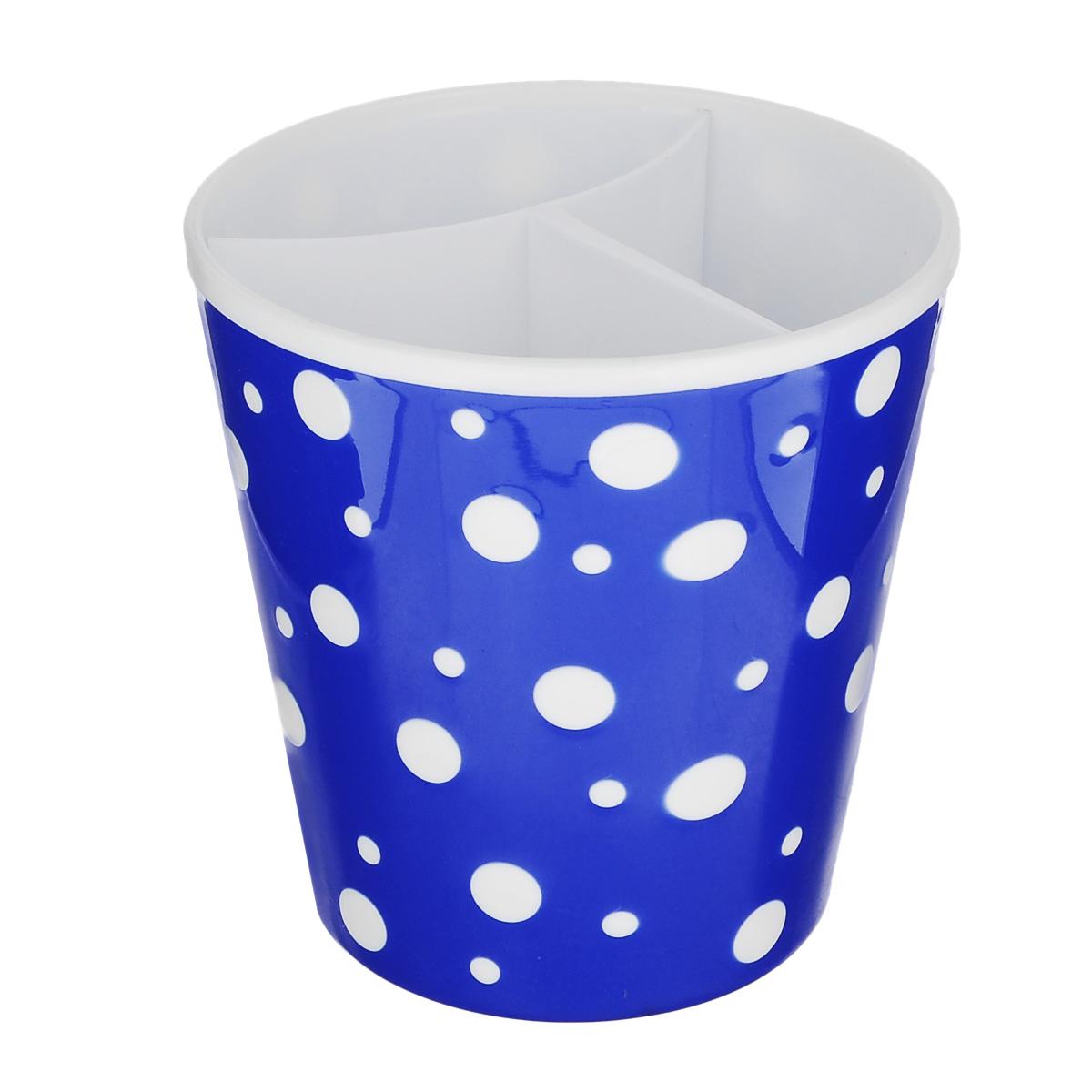 Подставка под столовые приборы Альтернатива Горошек, цвет: белый, синий, 12,5 х 12,5 х 13 смМ2730Подставка под столовые приборы Альтернатива Горошек выполнена из пластика, удобна в использовании. Благодаря своему дизайну впишется в интерьер любой кухни.
