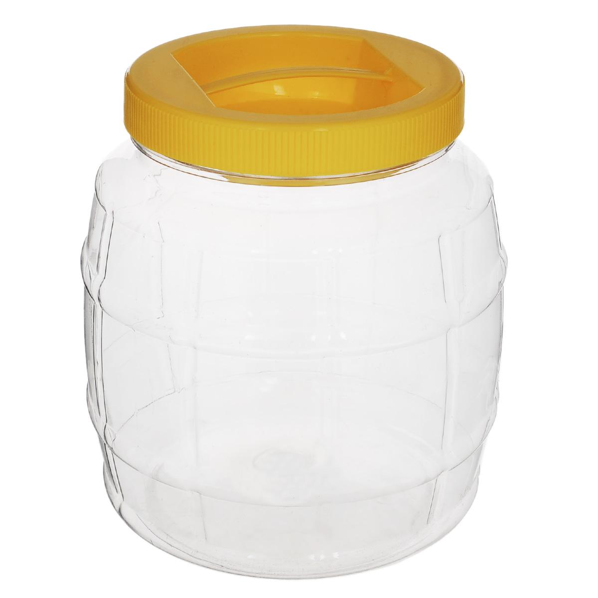 Емкость Альтернатива Бочонок, с ручкой, цвет: желтый, 2 лМ689Емкость Альтернатива Бочонок предназначена для хранения сыпучих продуктов или жидкостей. Выполнена из высококачественного пластика. Оснащена ручкой для удобной переноски. Диаметр: 10,5 см. Высота (без учета крышки): 15,5 см.
