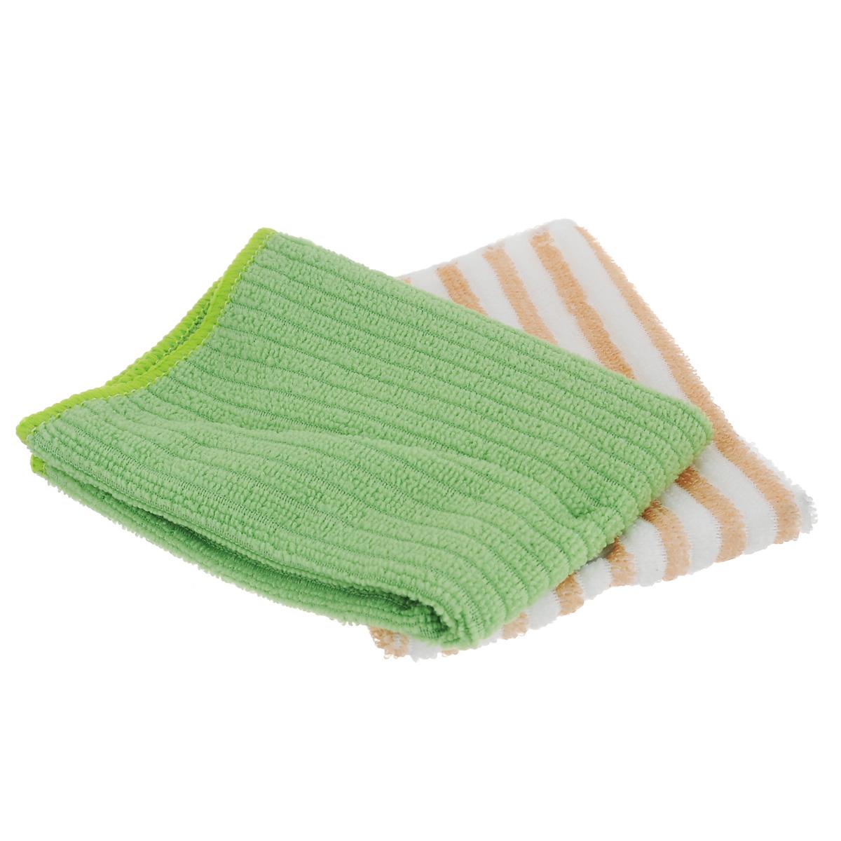 Салфетка из микрофибры Home Queen, цвет: зеленый, белый, 30 х 30 см, 2 шт57048Салфетка Home Queen, изготовленная из полиэстера, предназначена для очищения загрязнений на любых поверхностях. Изделие обладает высокой износоустойчивостью и рассчитано на многократное использование, легко моется в теплой воде с мягкими чистящими средствами. Супервпитывающая салфетка не оставляет разводов и ворсинок, удаляет большинство жирных и маслянистых загрязнений без использования химических средств. Размер салфетки: 30 см х 30 см. Комплектация: 2 шт.