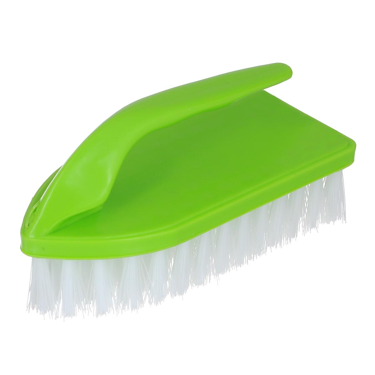 Щетка Home Queen Утюг, универсальная, цвет: салатовый. 8383Щетка Home Queen Утюг, выполненная из полипропилена и нейлона, является универсальной щеткой для очистки поверхностей ванной комнаты и кухни. Оснащена удобной ручкой. Длина ворсинок: 3 см.