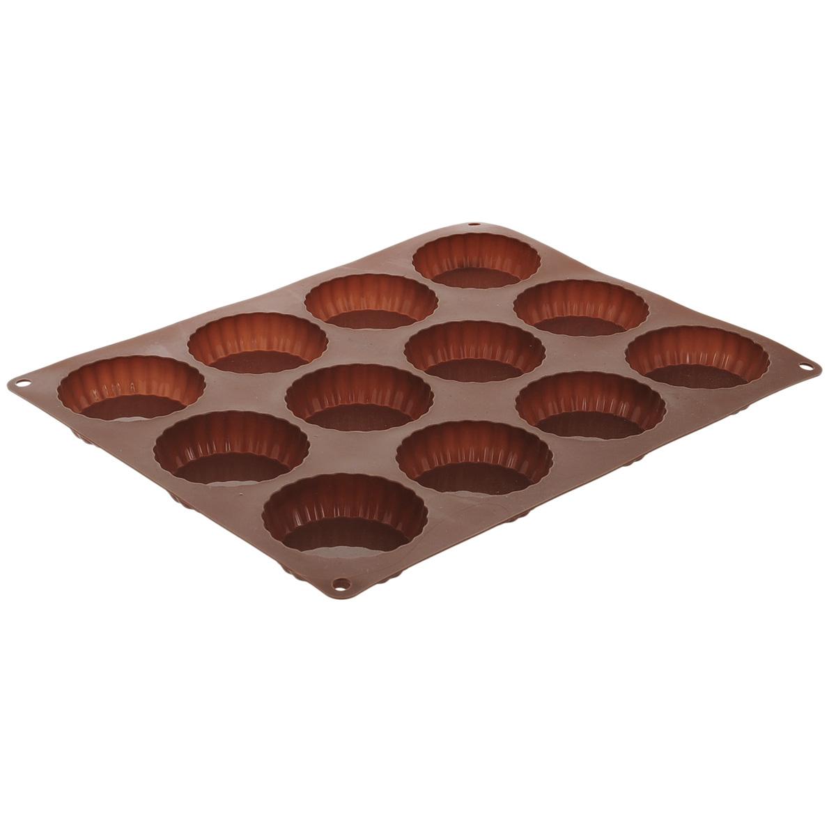 Форма для выпечки Taller Тарталетки, цвет: коричневый, 12 ячеекTR-6214Форма для выпечки Taller Тарталетки изготовлена из силикона - материала, который выдерживает температуру от -40°С до +230°С. Изделия из силикона очень удобны в использовании: пища в них не пригорает и не прилипает к стенкам, форма легко моется. Приготовленное блюдо можно очень просто вытащить, просто перевернув форму, при этом внешний вид блюда не нарушится. Изделие обладает эластичными свойствами: складывается без изломов, восстанавливает свою первоначальную форму. Форма содержит 12 ячеек для приготовления тарталеток. Порадуйте своих родных и близких любимой выпечкой в необычном исполнении. Подходит для приготовления в микроволновой печи и духовом шкафу при нагревании до +230°С; для замораживания до -40°С и чистки в посудомоечной машине. Размер формы: 34 см х 27 см. Диаметр ячейки: 7,5 см. Высота стенок: 2 см. Количество ячеек: 12 шт.