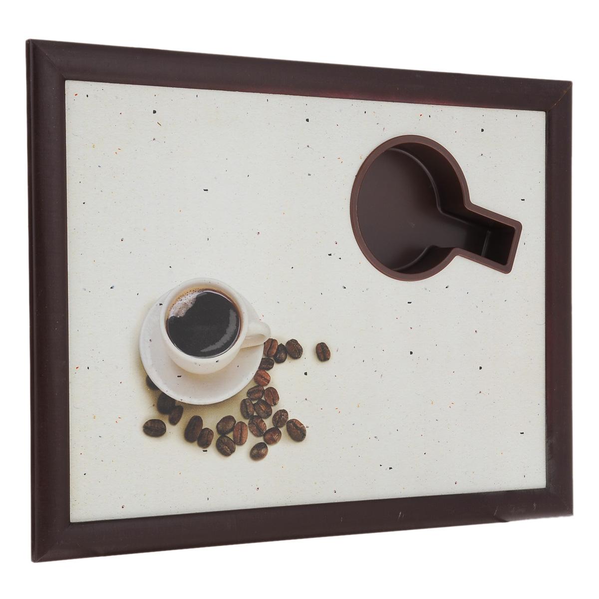Столик-поднос для завтрака Едим дома Чашка кофе, с мягким основанием, 44 х 34 х 8 см60560Столик-поднос Едим дома Чашка кофе удобен для приема пищи и работы с ноутбуком. Столик изготовлен из высококачественного полипропилена в деревянной рамке. Столик имеет мягкое основание в виде подушки, изготовленной из полиэстера. Основание наполнено крупными шариками пенопласта. Подушка столика принимает форму поверхности и его удобно ставить на колени или диван. Столик-поднос имеет отверстие для чашки. Столик декорирован изображением чашки с кофе. В комплект входит рецепт суфле от Юлии Высоцкой.