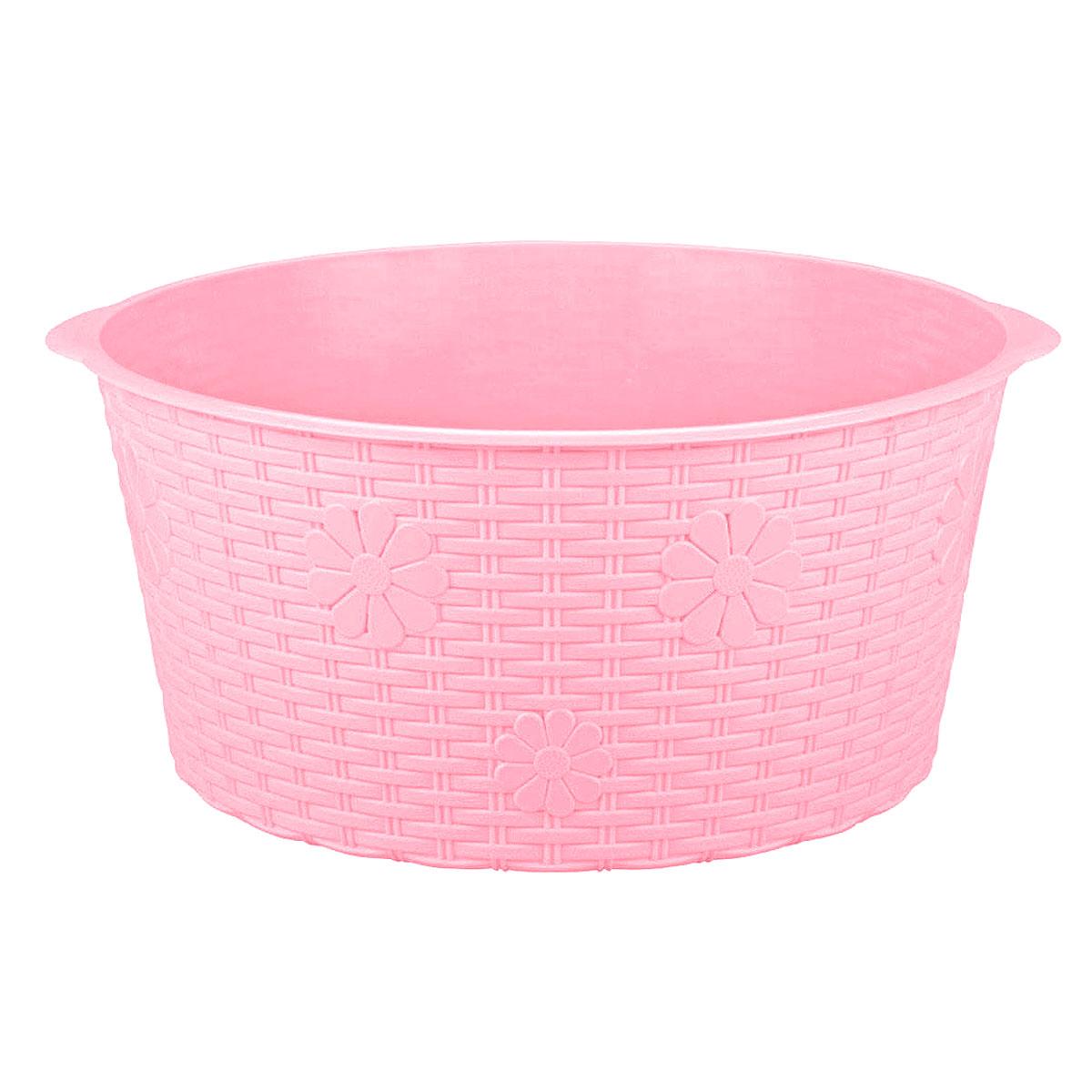 Таз Плетенка, цвет: розовый, 20 лМ2257Таз Плетенка изготовлен из высококачественного пластика. Он выполнен в классическом круглом варианте. Для удобного использования таз снабжен двумя ручками. Таз предназначен для стирки и хранения разных вещей. Он пригодится в любом хозяйстве.