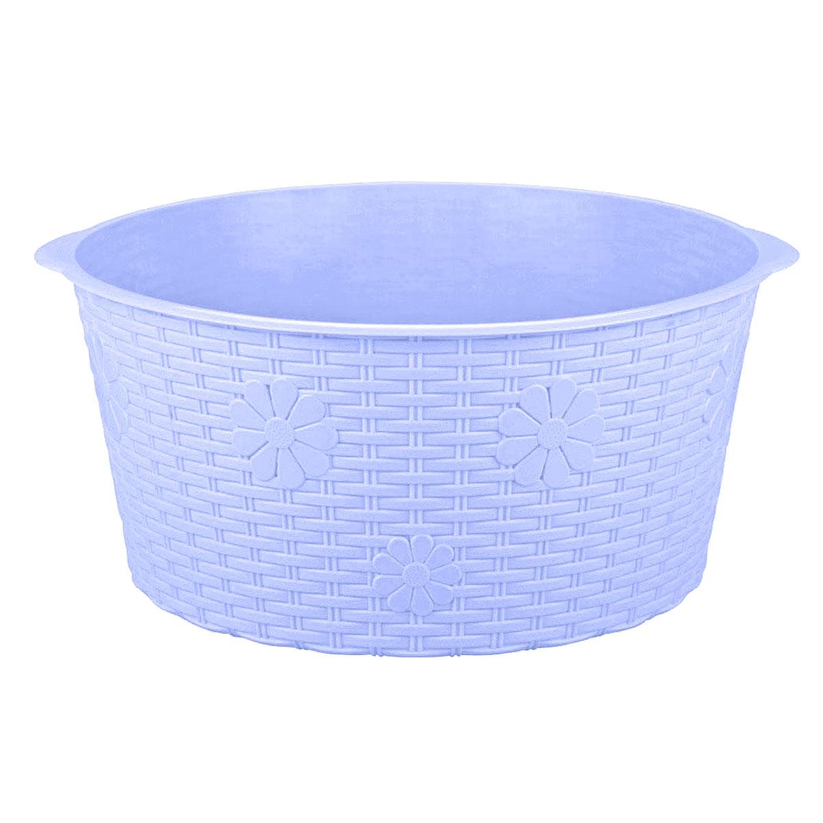 Таз Плетенка, цвет: голубой, 20 лМ2258Таз Плетенка изготовлен из высококачественного пластика. Он выполнен в классическом круглом варианте. Для удобного использования таз снабжен двумя ручками. Таз предназначен для стирки и хранения разных вещей. Он пригодится в любом хозяйстве.