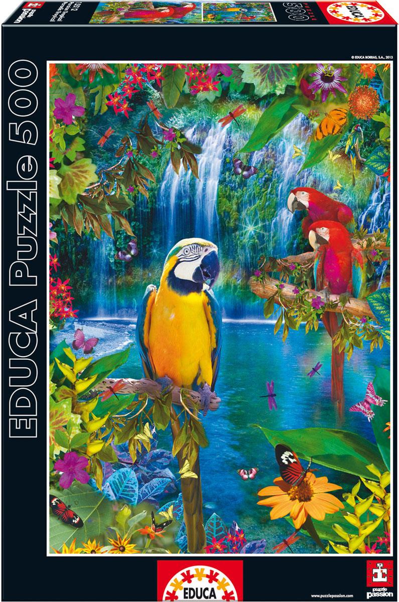 Тропические птицы. Пазл, 500 элементов15512Пазл Тропические птицы, без сомнения, придется вам по душе. Собрав этот пазл, включающий в себя 500 элементов, вы получите великолепную цветную картину с изображением трех попугаев на фоне водопадов. В комплект входит специальный клей, представляющий собой порошок, который перед применением требуется развести водой. Он надежно склеивает собранный пазл и не оставляет следов на поверхности картинки. Пазл - прекрасное антистрессовое средство для взрослых и замечательная развивающая игра для детей. Собирание пазла развивает у ребенка мелкую моторику рук, тренирует наблюдательность, логическое мышление, знакомит с окружающим миром, с цветом и разнообразными формами, учит усидчивости и терпению, аккуратности и вниманию. Собирание пазла - прекрасное времяпрепровождение для всей семьи.