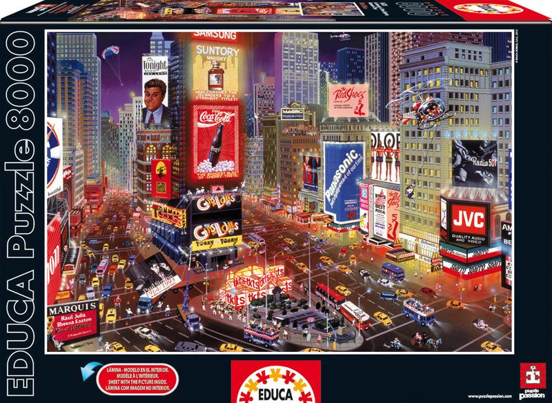 Вечер на Таймс Сквер. Пазл, 8000 элементов16325Пазл Educa Вечер на Таймс Сквер непременно придется по душе вам и вашему ребенку. Собрав этот пазл, включающий в себя 8000 элементов, вы получите красочный постер с изображением главной площади Нью-Йорка - Тайм Сквер. Пазл выполнен из высококачественных материалов, что обеспечивает идеальное прилегание деталей. Компания Educa имеет уникальный сервис: бесплатная доставка в любую точку мира потерянной детали. Пазл - великолепная игра для семейного досуга. Сегодня собирание пазлов стало особенно популярным, главным образом, благодаря своей многообразной тематике, способной удовлетворить самый взыскательный вкус. А для детей это не только интересно, но и полезно. Собирание пазла развивает мелкую моторику у ребенка, тренирует наблюдательность, логическое мышление, знакомит с окружающим миром, с цветом и разнообразными формами.