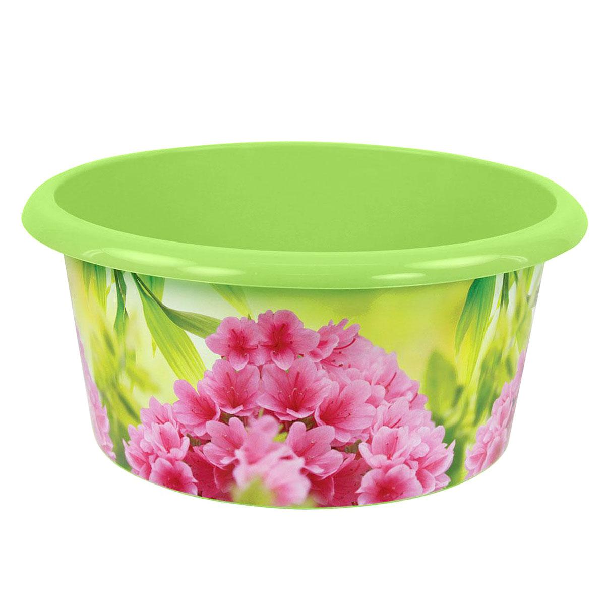Таз Азалия, цвет: салатовый, 10 лМ1755Таз Азалия изготовлен из высококачественного пластика. Он выполнен в классическом круглом варианте. По бокам имеются удобные углубления, которые обеспечивают удобный захват. Таз предназначен для стирки и хранения разных вещей. Он пригодится в любом хозяйстве.