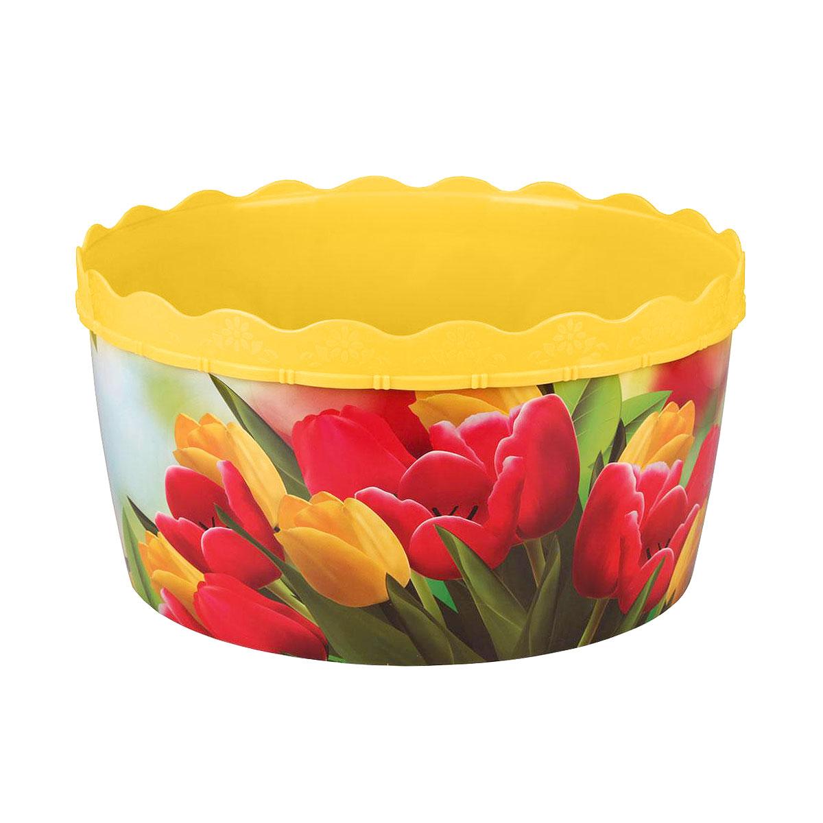 Таз Тюльпаны, цвет: желтый, 12 лМ3107Таз Тюльпаны станет незаменимым помощником в хозяйстве. Он выполнен из качественного пластика и прослужит долгие годы. Объем: 12 л. Диаметр (по верхнему краю): 35 см. Высота: 18 см.