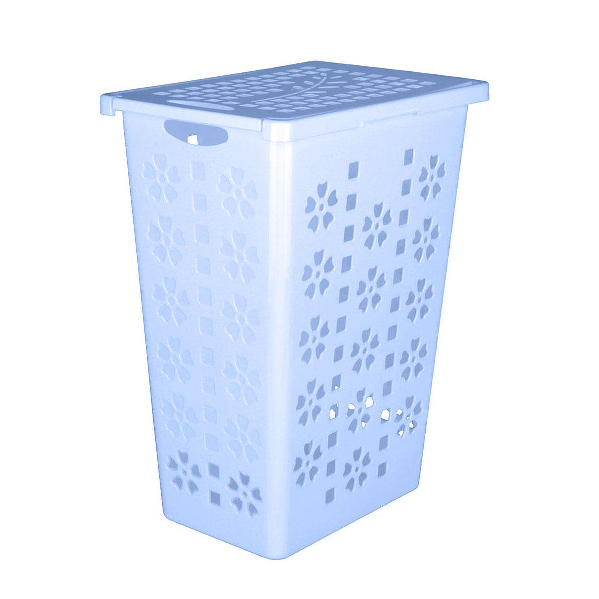 Корзина для белья Альтернатива Виолетта, цвет: голубой, 30 лМ2444Легкая и удобная корзина Альтернатива Виолетта прямоугольной формы, изготовлена из пластика. Она отлично подойдет для хранения белья перед стиркой. Корзина, декорированная небольшими отверстиями в форме цветов и квадратиков, скрывает содержимое корзины от посторонних. Отверстия создают идеальные условия для проветривания. Изделие оснащено крышкой и отверстием для переноски корзины. Такая корзина для белья прекрасно впишется в интерьер ванной комнаты.
