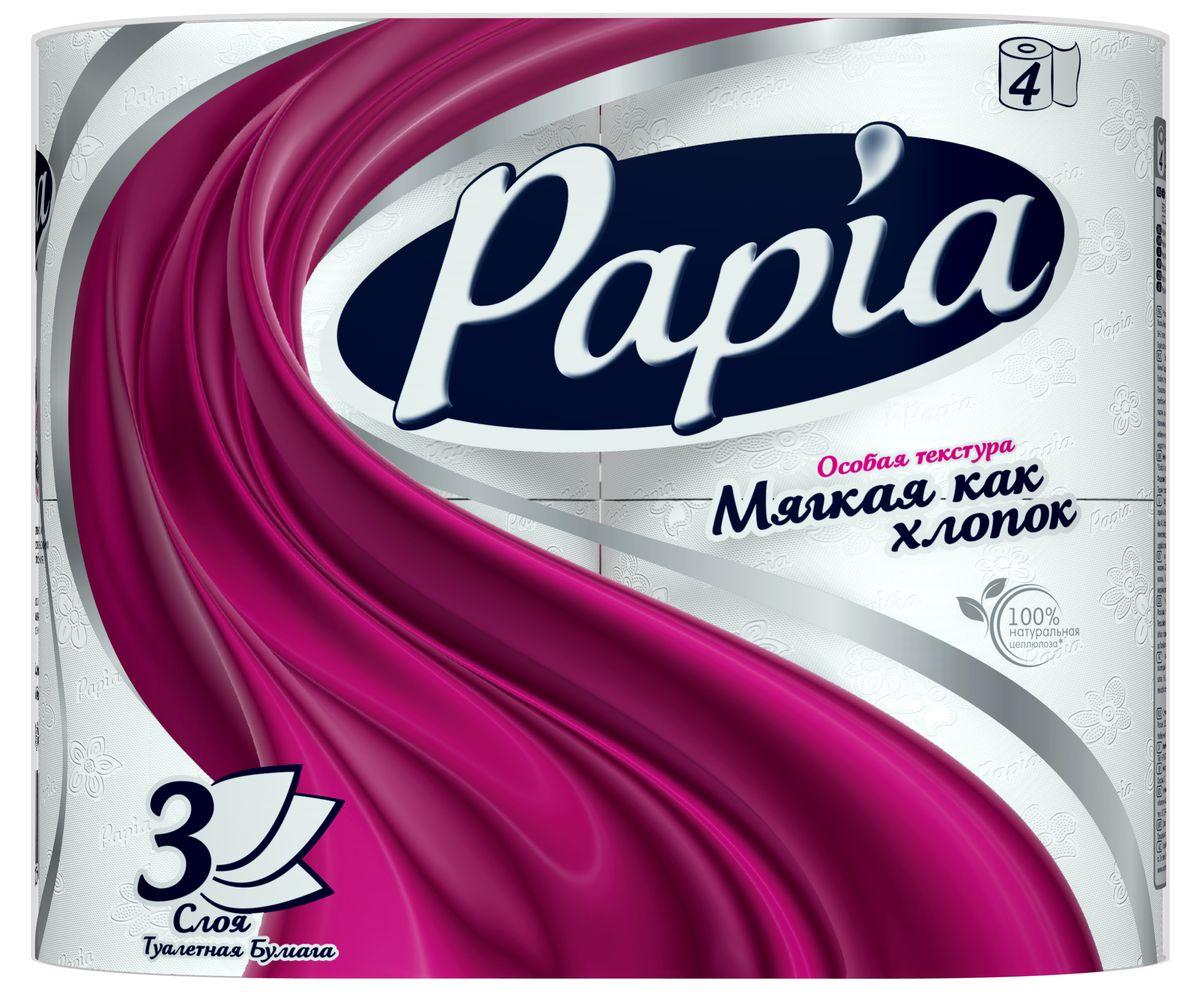 Туалетная бумага Papia, трехслойная, цвет: белый, 4 рулона15283Трехслойная туалетная бумага Papia изготовлена из целлюлозы высшего качества. Листы оформлены тисненым рисунком в виде цветов и надписи Papia. Мягкая, нежная, но в тоже время прочная, бумага не расслаивается и отрывается строго по линии перфорации. Бумага не ароматизированная. Туалетная бумага Papia предназначена для тех, кто хочет, чтобы ванная была самая уютная на свете. Товар сертифицирован. Материал: 100% целлюлоза. Количество листов (в одном рулоне): 140 шт. Количество слоев: 3. Размер листа: 9,5 см х 12 см. Длина рулона: 16,8 м.