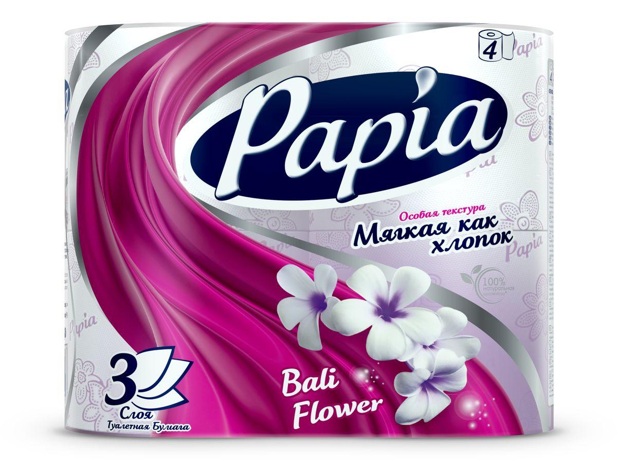 Туалетная бумага Papia Bali Flower ароматизированная, трехслойная, цвет: белый, 4 рулона15284Трехслойная туалетная бумага Papia Bali Flower изготовлена из целлюлозы высшего качества. Листы оформлены тисненым рисунком в виде цветов и надписи Papia. Мягкая, нежная, но в тоже время прочная, бумага не расслаивается и отрывается строго по линии перфорации. Бумага ароматизирована. Туалетная бумага Papia Bali Flower предназначена для тех, кто хочет, чтобы ванная была самая уютная на свете, а нежный аромат балийского цветка поднимет вам настроение. Товар сертифицирован. Материал: 100% целлюлоза. Количество листов (в одном рулоне): 140 шт. Количество слоев: 3. Размер листа: 9,5 см х 12 см. Длина рулона: 16,8 м.