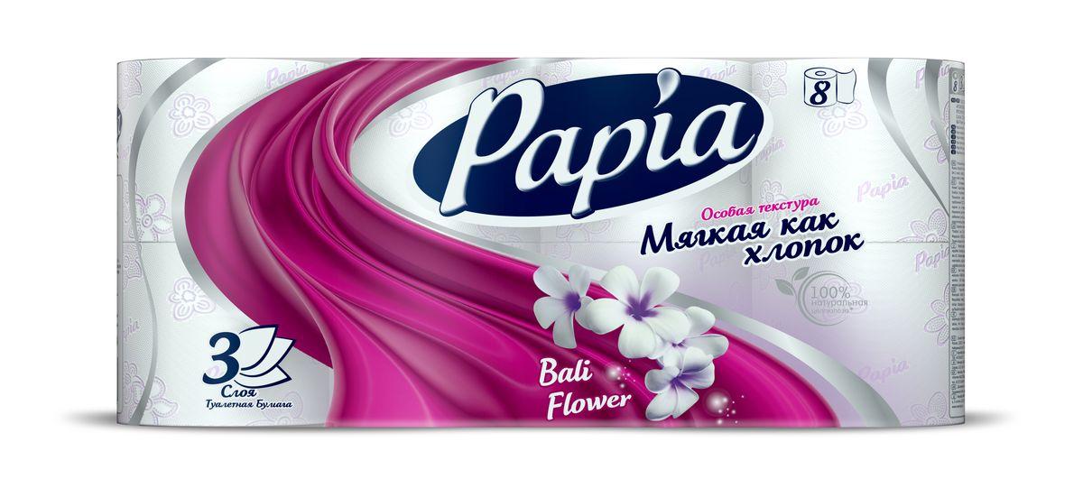 Туалетная бумага Papia Bali Flower ароматизированная, трехслойная, цвет: белый, 8 рулонов15288Трехслойная туалетная бумага Papia Bali Flower изготовлена из целлюлозы высшего качества. Листы оформлены тисненым рисунком в виде цветов и надписи Papia. Мягкая, нежная, но в тоже время прочная, бумага не расслаивается и отрывается строго по линии перфорации. Бумага ароматизирована. Туалетная бумага Papia Bali Flower предназначена для тех, кто хочет, чтобы ванная была самая уютная на свете, а нежный аромат балийского цветка поднимет вам настроение. Товар сертифицирован. Материал: 100% целлюлоза. Количество листов (в одном рулоне): 140 шт. Количество слоев: 3. Размер листа: 9,5 см х 12 см. Длина рулона: 16,8 м.