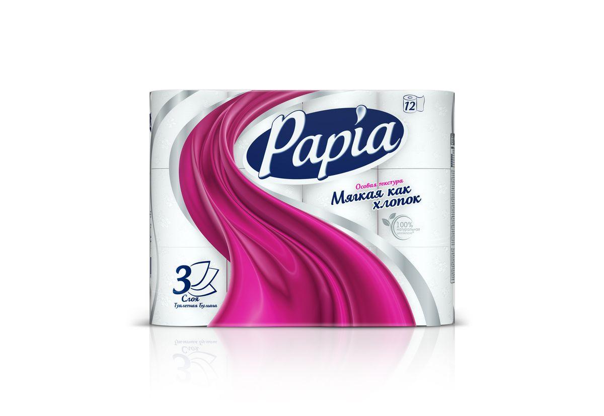 Туалетная бумага Papia, трехслойная, цвет: белый, 12 рулонов15289Трехслойная туалетная бумага Papia изготовлена из целлюлозы высшего качества. Листы белого цвета оформлены тисненым рисунком в виде цветов и надписи Papia. Мягкая, нежная, но в тоже время прочная, бумага не расслаивается и отрывается строго по линии перфорации. Бумага не ароматизирована. Туалетная бумага Papia предназначена для тех, кто хочет, чтобы ванная была самая уютная на свете. Товар сертифицирован. Материал: 100% целлюлоза. Количество листов (в одном рулоне): 140 шт. Количество слоев: 3. Размер листа: 9,5 см х 12 см. Длина рулона: 16,8 м.