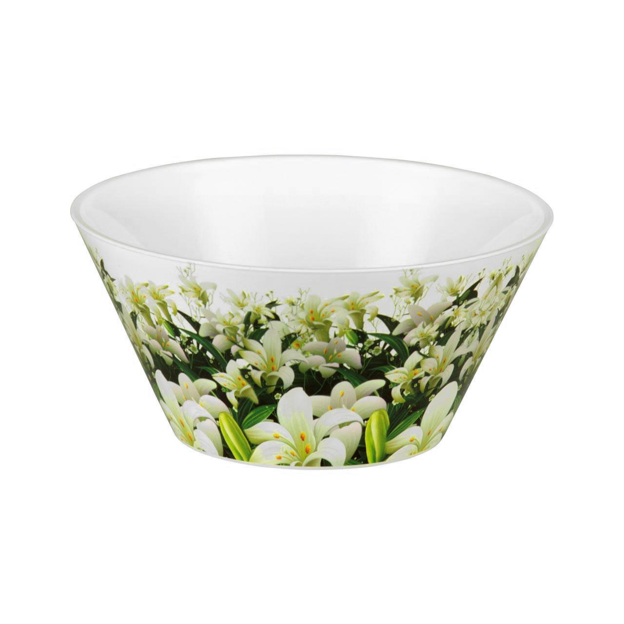Чаша Шарлотта, 2 лМ2165Чаша Шарлотта изготовлена из высококачественного пластика и подходит для повседневного использования. Чаша декорирована изображением лилий. Чаша отлично подойдет для овсяных хлопьев, фруктов, риса или овощей. Также в ней можно приготовить салаты. Приятный дизайн чаши подойдет практически для любого случая. Диаметр чаши: 21 см. Высота чаши: 11,5 см. Объем: 2 л.