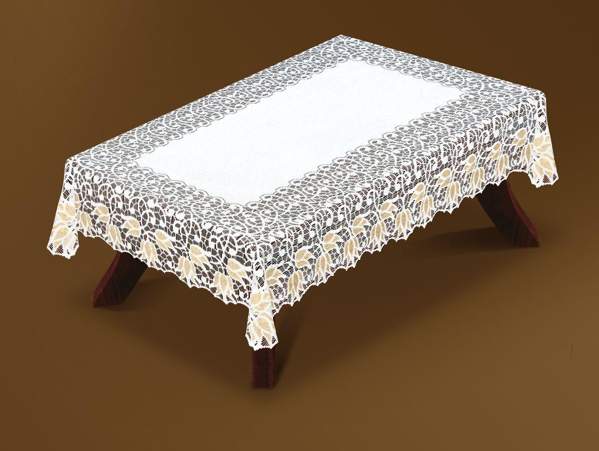 Скатерть Haft Gold Line, прямоугольная, цвет: белый, золотистый, 120 x 160 см. 221070/120221070/120Великолепная прямоугольная скатерть Haft Gold Line, выполненная из полиэстера, органично впишется в интерьер любого помещения, а оригинальный дизайн удовлетворит даже самый изысканный вкус. Скатерть изготовлена из сетчатого материала с ажурным цветочным рисунком по краям. Края скатерти ажурные. Скатерть Haft Gold Line создаст праздничное настроение и станет прекрасным дополнением интерьера гостиной, кухни или столовой.