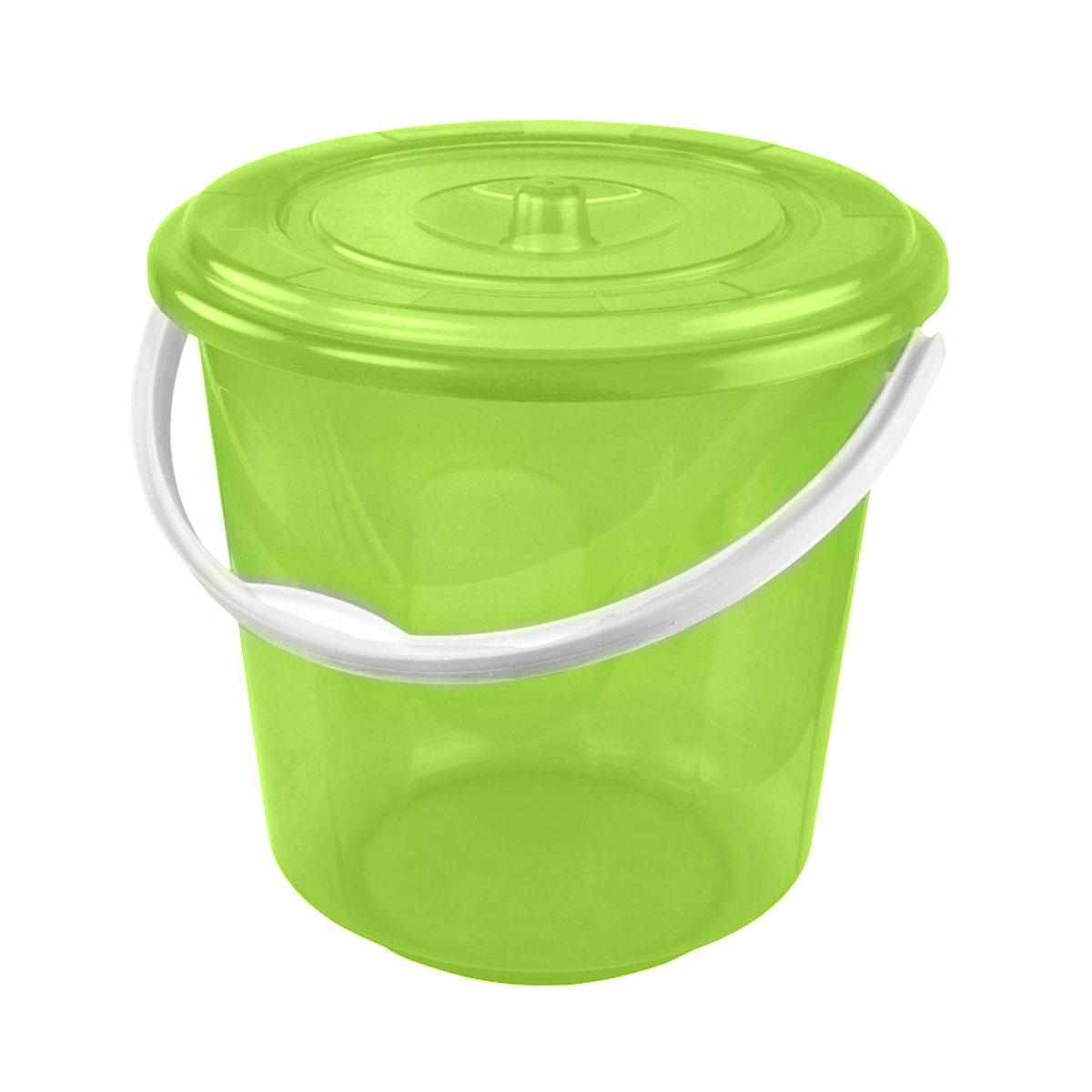 Ведро Альтернатива Хозяюшка, с крышкой, цвет: зеленый, 5 лМ1178Круглое ведро Альтернатива Хозяюшка изготовлено из высококачественного пластика. Оно легче железного и не подвержено коррозии. Ведро оснащено удобной пластиковой ручкой и плотно прилегающей крышкой. Такое ведро станет незаменимым помощником в хозяйстве. Диаметр (по верхнему краю): 21 см. Высота (без учета крышки): 21 см.