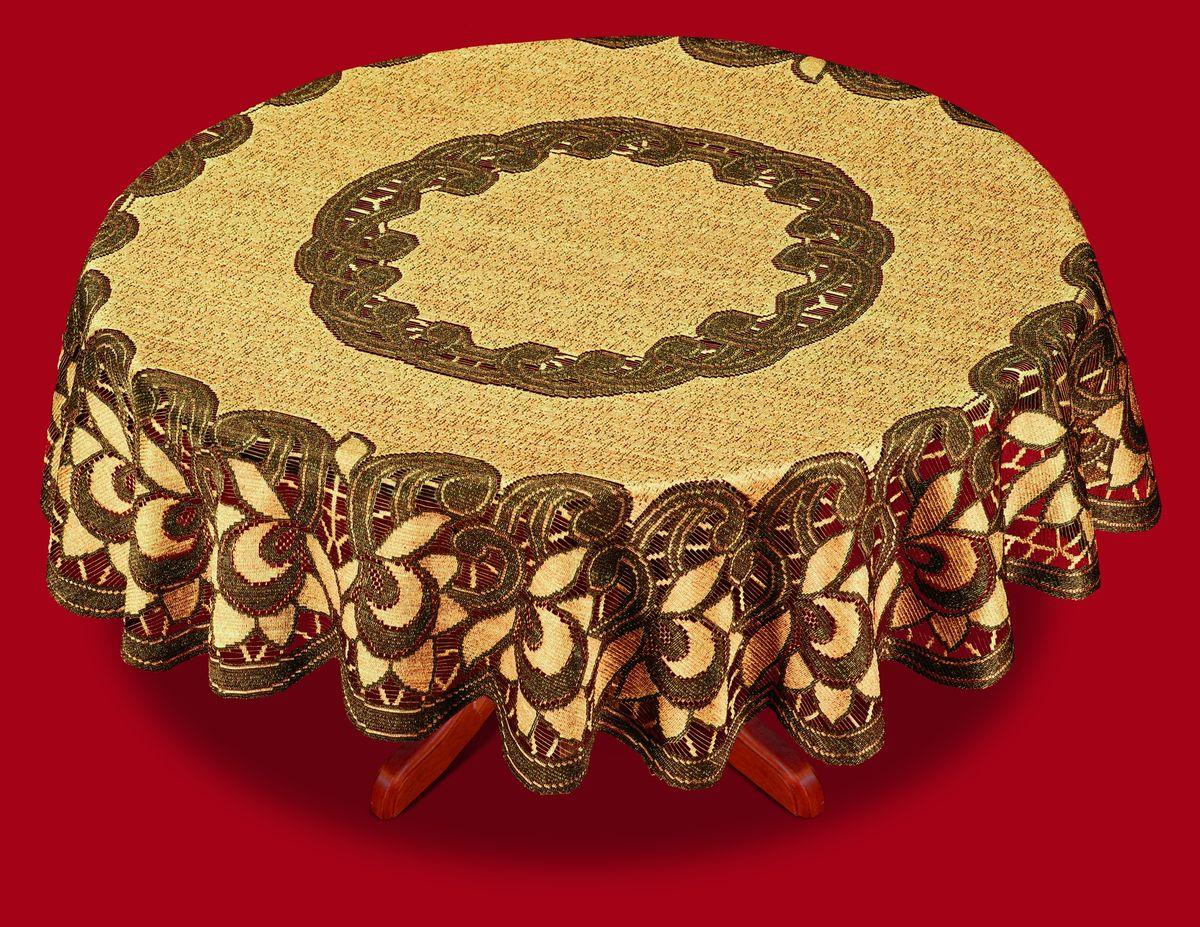 Скатерть Haft, цвет: оранжевый, коричневый, диаметр 150 см38783-150 корич.Великолепная круглая скатерть Haft, выполненная из полиэстера, органично впишется в интерьер любого помещения, а оригинальный дизайн удовлетворит даже самый изысканный вкус. Скатерть изготовлена из сетчатого материала с ажурным цветочным рисунком. Скатерть Haft создаст праздничное настроение и станет прекрасным дополнением интерьера гостиной, кухни или столовой. Диаметр скатерти: 150 см.