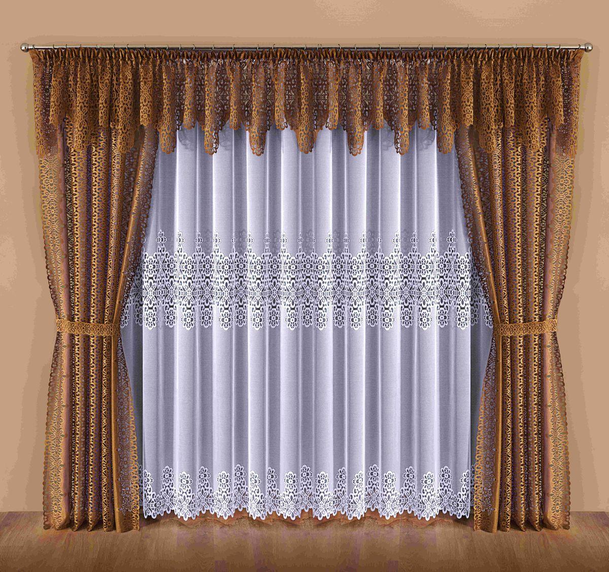 Комплект штор Wisan Dalia, на ленте, цвет: белый, коричневый, высота 250 см045WКомплект штор Wisan Dalia выполненный из полиэстера, великолепно украсит любое окно. В комплект входят 2 шторы, тюль, ламбрекен и 2 подхвата. Цветочный орнамент придает комплекту особый стиль и шарм. Тонкое плетение, нежная цветовая гамма и роскошное исполнение - все это делает шторы Wisan Dalia замечательным дополнением интерьера помещения. Комплект оснащен шторной лентой для красивой сборки. В комплект входит: Штора - 2 шт. Размер (ШхВ): 142 см х 250 см. Тюль - 1 шт. Размер (ШхВ): 400 см х 250 см. Ламбрекен - 1 шт. Размер (ШхВ): 600 см х 55 см. Подхват - 2 шт. Фирма Wisan на польском рынке существует уже более пятидесяти лет и является одной из лучших польских фабрик по производству штор и тканей. Ассортимент фирмы представлен готовыми комплектами штор для гостиной, детской, кухни, а также текстилем для кухни (скатерти, салфетки, дорожки, кухонные занавески). Модельный ряд отличает оригинальный дизайн,...