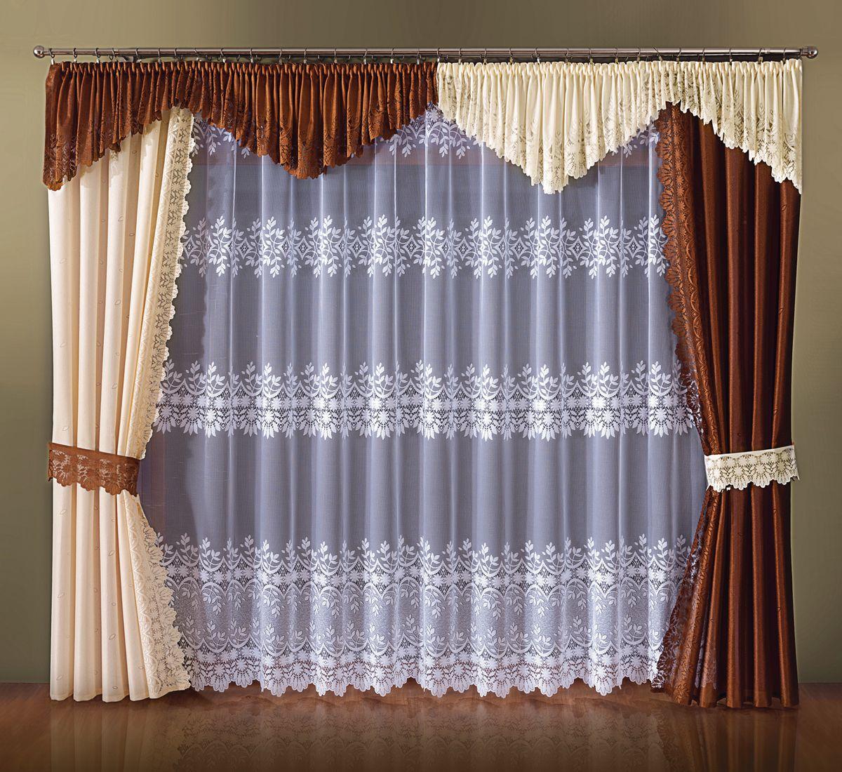 Комплект штор Wisan Cappuccino, на ленте, цвет: коричневый, кремовый, высота 250 см
