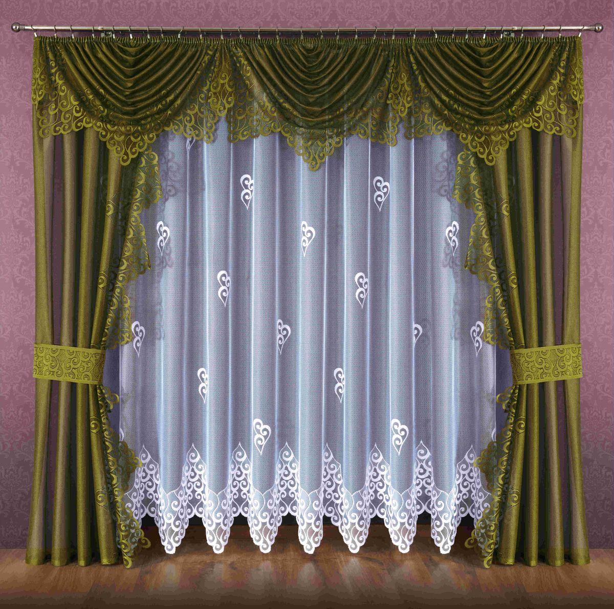 Комплект штор Wisan Ludmila, на ленте, цвет: белый, оливковый, высота 250 см089WКомплект штор Wisan Ludmila выполненный из полиэстера, великолепно украсит любое окно. В комплект входят 2 шторы, тюль, ламбрекен и 2 подхвата. Кружевной орнамент придает комплекту особый стиль и шарм. Тонкое плетение, нежная цветовая гамма и роскошное исполнение - все это делает шторы Wisan Ludmila замечательным дополнением интерьера помещения. Комплект оснащен шторной лентой для красивой сборки. В комплект входит: Штора - 2 шт. Размер (ШхВ): 140 см х 250 см. Тюль - 1 шт. Размер (ШхВ): 400 см х 250 см. Ламбрекен - 1 шт. Размер (ШхВ): 440 см х 135 см. Подхват - 2 шт. Фирма Wisan на польском рынке существует уже более пятидесяти лет и является одной из лучших польских фабрик по производству штор и тканей. Ассортимент фирмы представлен готовыми комплектами штор для гостиной, детской, кухни, а также текстилем для кухни (скатерти, салфетки, дорожки, кухонные занавески). Модельный ряд отличает оригинальный дизайн,...