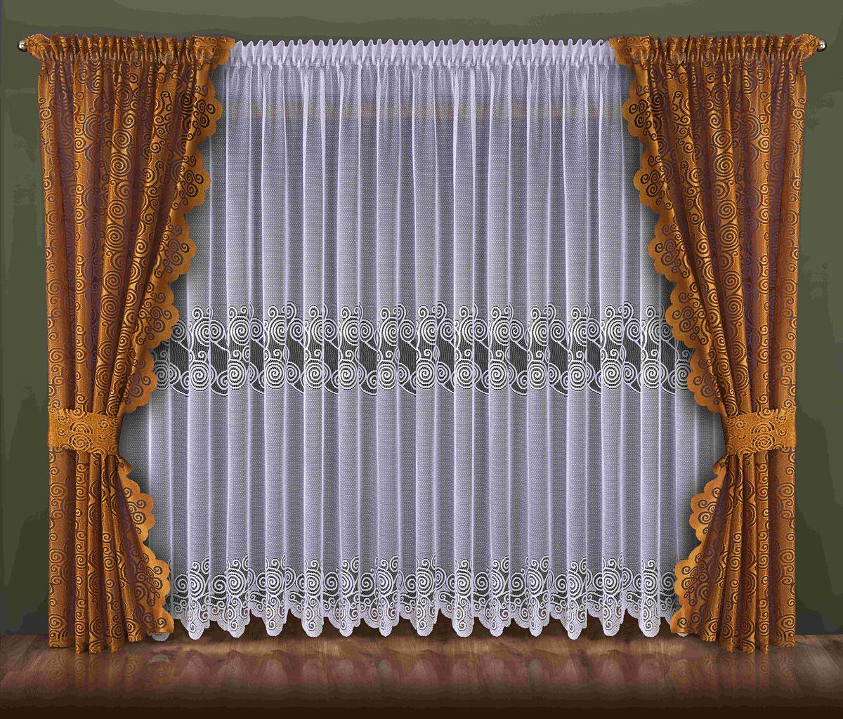 Комплект штор Wisan Waleriana, на ленте, цвет: белый, коричневый, высота 250 см092WКомплект штор Wisan Waleriana, выполненный из полиэстера, великолепно украсит любое окно. Тонкое плетение, оригинальный дизайн привлекут к себе внимание и органично впишутся в интерьер. В комплект входят 2 шторы, тюль и 2 подхвата. Кружевной узор придает комплекту особый стиль и шарм. Тонкое плетение, нежная цветовая гамма и роскошное исполнение - все это делает шторы Wisan Waleriana замечательным дополнением интерьера помещения. Шторы оснащены шторной лентой для красивой сборки. В комплект входит: Штора - 2 шт. Размер (ШхВ): 140 см х 250 см. Тюль - 1 шт. Размер (ШхВ): 400 см х 250 см. Подхват - 2 шт. Фирма Wisan на польском рынке существует уже более пятидесяти лет и является одной из лучших польских фабрик по производству штор и тканей. Ассортимент фирмы представлен готовыми комплектами штор для гостиной, детской, кухни, а также текстилем для кухни (скатерти, салфетки, дорожки, кухонные занавески). Модельный ряд отличает...