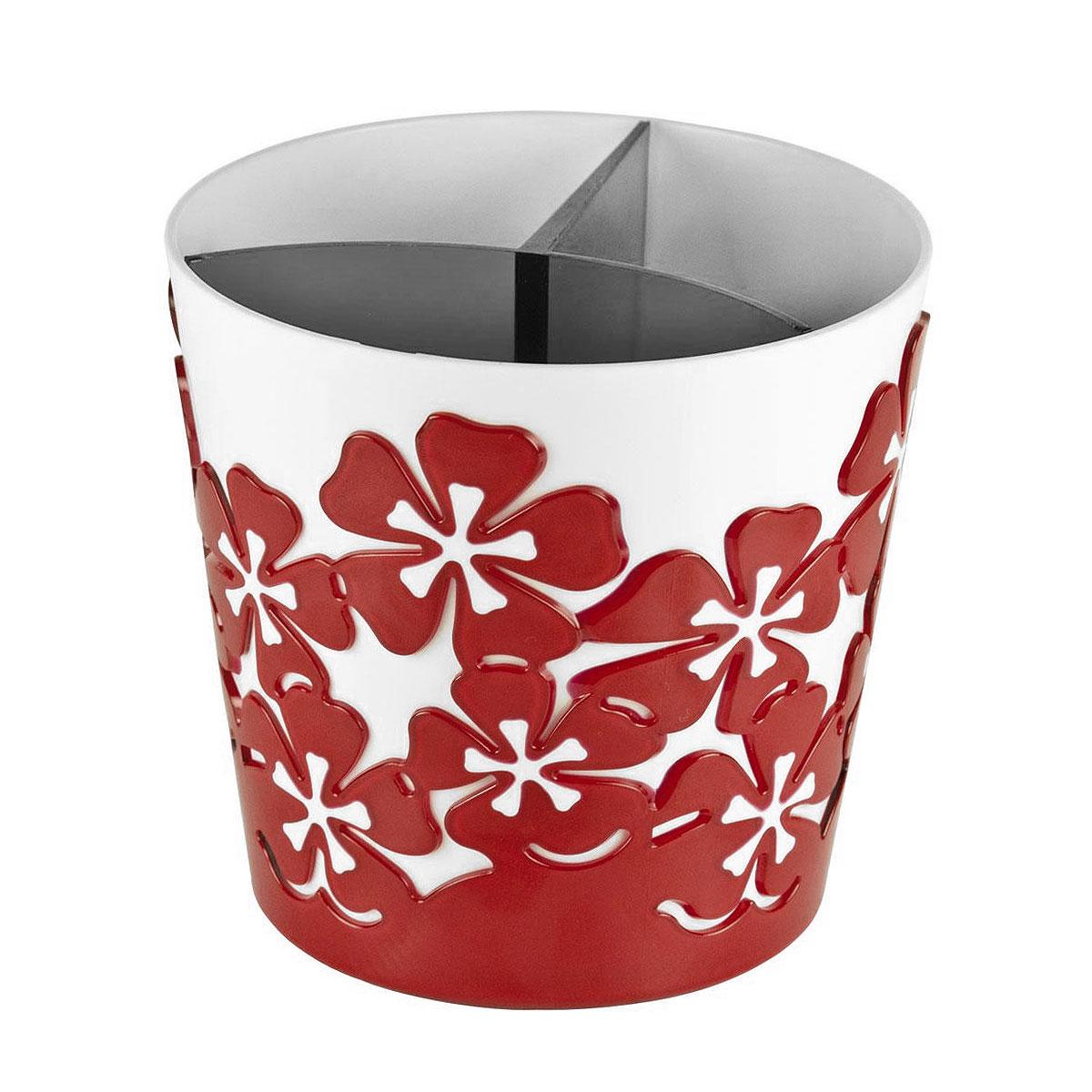 Подставка для столовых приборов Альтернатива Камелия, цвет: красныйМ1927Подставка для столовых приборов Альтернатива Камелия, выполненная из высококачественного пластика, станет полезным приобретением для вашей кухни. Подставка имеет три отделения для разных видов столовых приборов. Изделие декорировано оригинальным цветочным узором. Красивая подставка для столовых приборов украсит любую кухню. Хорошо впишется в интерьер. Не займет много места, а столовые приборы будут всегда под рукой.