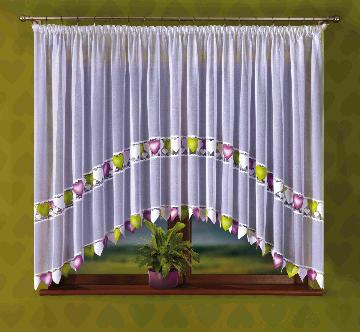 Гардина Wisan Serenada, на ленте, цвет: белый, высота 170 смЕ348Воздушная гардина Wisan Serenada, изготовленная из полиэстера, станет великолепным украшением любого окна. Изделие украшено ручной раскраской в виде сердец. Оригинальное оформление гардины внесет разнообразие и подарит заряд положительного настроения. Гардина оснащена шторной лентой для крепления на карниз.