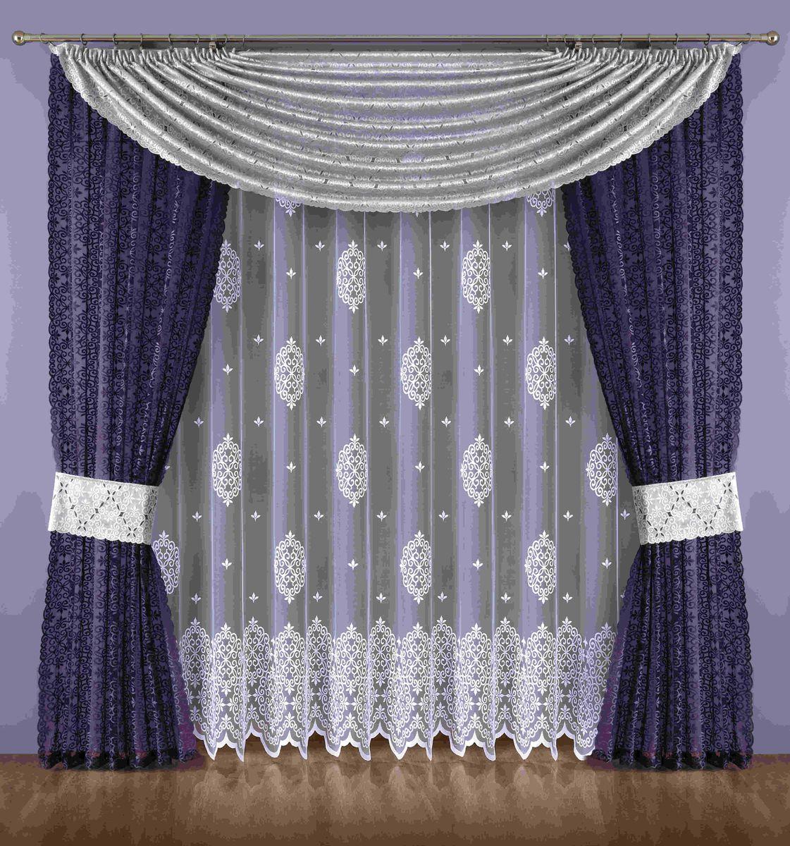 Комплект штор Wisan Maryna, на ленте, цвет: белый, серый, фиолетовый, высота 250 см