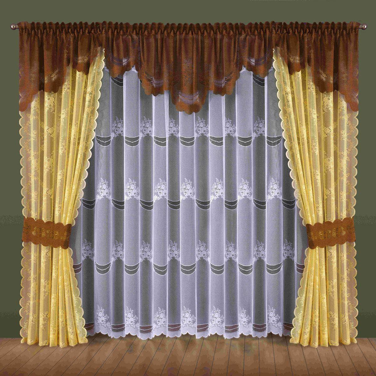 Комплект штор Wisan Nadzieja, на ленте, цвет: желтый, коричневый, высота 250 см184WКомплект штор Wisan Nadzieja выполненный из полиэстера, великолепно украсит любое окно. В комплект входят 2 шторы, тюль, ламбрекен и 2 подхвата. Интересный крой и нежный узор придают комплекту особый стиль и шарм. Тонкое плетение, нежная цветовая гамма и роскошное исполнение - все это делает шторы Wisan Nadzieja замечательным дополнением интерьера помещения. Комплект оснащен шторной лентой для красивой сборки. В комплект входит: Штора - 2 шт. Размер (ШхВ): 145 см х 250 см. Тюль - 1 шт. Размер (ШхВ): 400 см х 250 см. Ламбрекен - 1 шт. Размер (ШхВ): 440 см х 70 см. Подхват - 2 шт. Фирма Wisan на польском рынке существует уже более пятидесяти лет и является одной из лучших польских фабрик по производству штор и тканей. Ассортимент фирмы представлен готовыми комплектами штор для гостиной, детской, кухни, а также текстилем для кухни (скатерти, салфетки, дорожки, кухонные занавески). Модельный ряд отличает оригинальный...