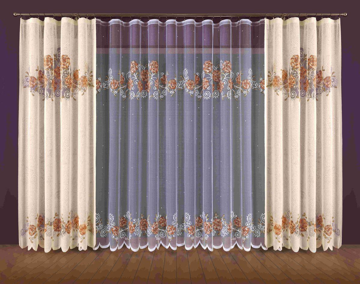 Комплект штор Wisan Mirella, на ленте, цвет: бежевый, белый, высота 250 см187WКомплект штор Wisan Mirella выполненный из полиэстера, великолепно украсит любое окно. Тонкое плетение, оригинальный дизайн привлекут к себе внимание и органично впишутся в интерьер. В комплект входят 2 шторы и тюль. Кружевной цветочный узор придает комплекту особый стиль и шарм. Тонкое жаккардовое плетение, нежная цветовая гамма и роскошное исполнение - все это делает шторы Wisan Mirella замечательным дополнением интерьера помещения. Комплект оснащен шторной лентой для красивой сборки. В комплект входит: Штора - 2 шт. Размер (ШхВ): 150 см х 250 см. Тюль - 1 шт. Размер (ШхВ): 400 см х 250 см. Фирма Wisan на польском рынке существует уже более пятидесяти лет и является одной из лучших польских фабрик по производству штор и тканей. Ассортимент фирмы представлен готовыми комплектами штор для гостиной, детской, кухни, а также текстилем для кухни (скатерти, салфетки, дорожки, кухонные занавески). Модельный ряд отличает оригинальный...