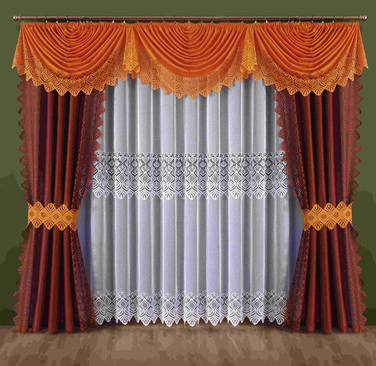 Комплект штор Wisan Mira, на ленте, цвет: оранжевый, бордовый, высота 250 см188WКомплект штор Wisan Mira выполненный из полиэстера, великолепно украсит любое окно. В комплект входят 2 шторы, тюль, ламбрекен и 2 подхвата. Интересный крой, и нежный узор придают комплекту особый стиль и шарм. Тонкое плетение, нежная цветовая гамма и роскошное исполнение - все это делает шторы Wisan Mira замечательным дополнением интерьера помещения. Комплект оснащен шторной лентой для красивой сборки. В комплект входит: Штора - 2 шт. Размер (ШхВ): 145 см х 250 см. Тюль - 1 шт. Размер (ШхВ): 400 см х 250 см. Ламбрекен - 1 шт. Размер (ШхВ): 440 см х 145 см. Подхват - 2 шт. Фирма Wisan на польском рынке существует уже более пятидесяти лет и является одной из лучших польских фабрик по производству штор и тканей. Ассортимент фирмы представлен готовыми комплектами штор для гостиной, детской, кухни, а также текстилем для кухни (скатерти, салфетки, дорожки, кухонные занавески). Модельный ряд отличает оригинальный дизайн,...