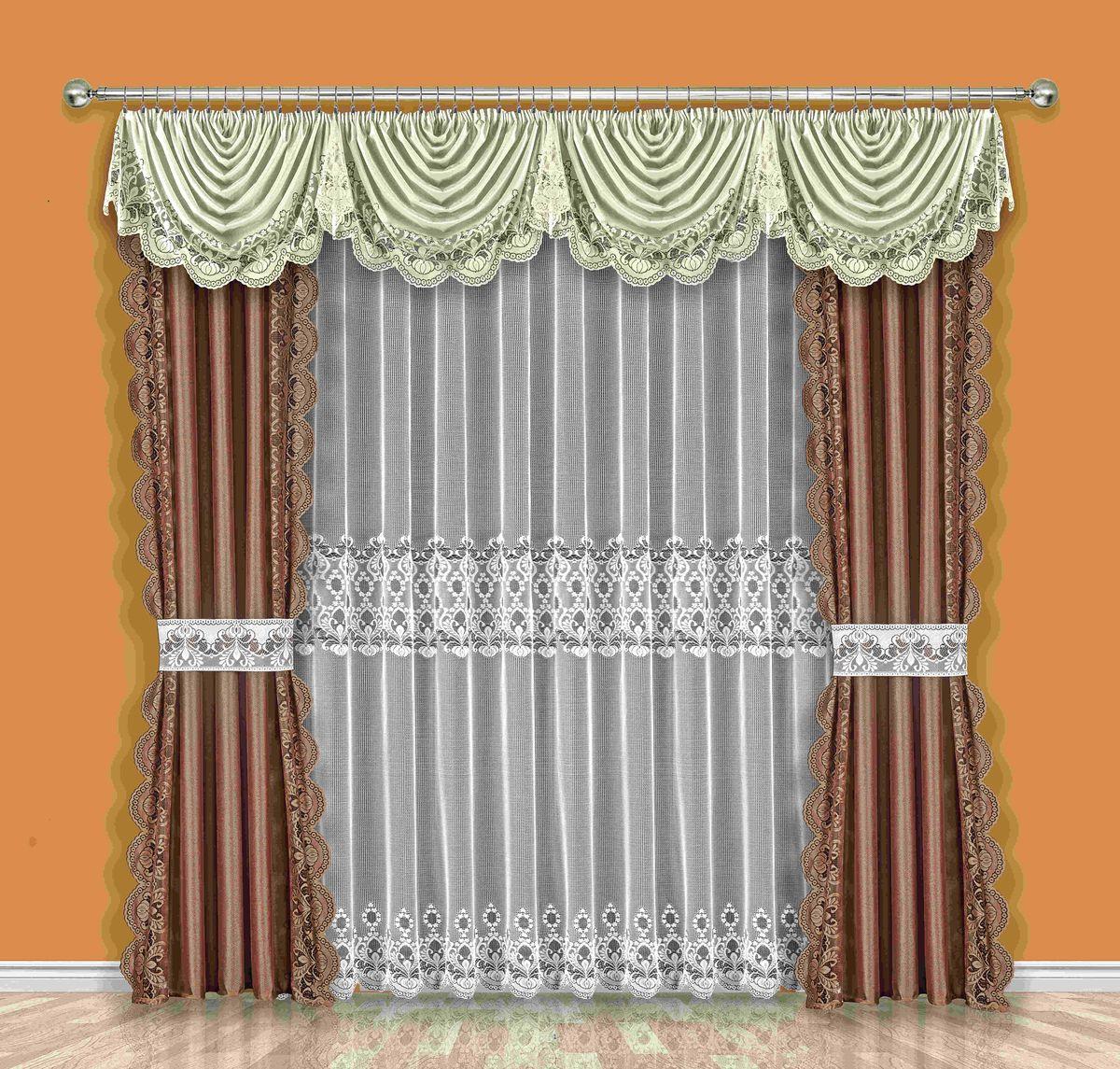 Комплект штор Wisan Orina, на ленте, цвет: белый, коричневый, высота 250 см189WКомплект штор Wisan Orina выполненный из полиэстера, великолепно украсит любое окно. В комплект входят 2 шторы, тюль, ламбрекен и 2 подхвата. Интересный крой и нежный узор придают комплекту особый стиль и шарм. Тонкое плетение, нежная цветовая гамма и роскошное исполнение - все это делает шторы Wisan Orina замечательным дополнением интерьера помещения. Комплект оснащен шторной лентой для красивой сборки. В комплект входит: Штора - 2 шт. Размер (ШхВ): 145 см х 250 см. Тюль - 1 шт. Размер (ШхВ): 400 см х 250 см. Ламбрекен - 1 шт. Размер (ШхВ): 420 см х 95 см. Подхват - 2 шт. Фирма Wisan на польском рынке существует уже более пятидесяти лет и является одной из лучших польских фабрик по производству штор и тканей. Ассортимент фирмы представлен готовыми комплектами штор для гостиной, детской, кухни, а также текстилем для кухни (скатерти, салфетки, дорожки, кухонные занавески). Модельный ряд отличает оригинальный дизайн,...