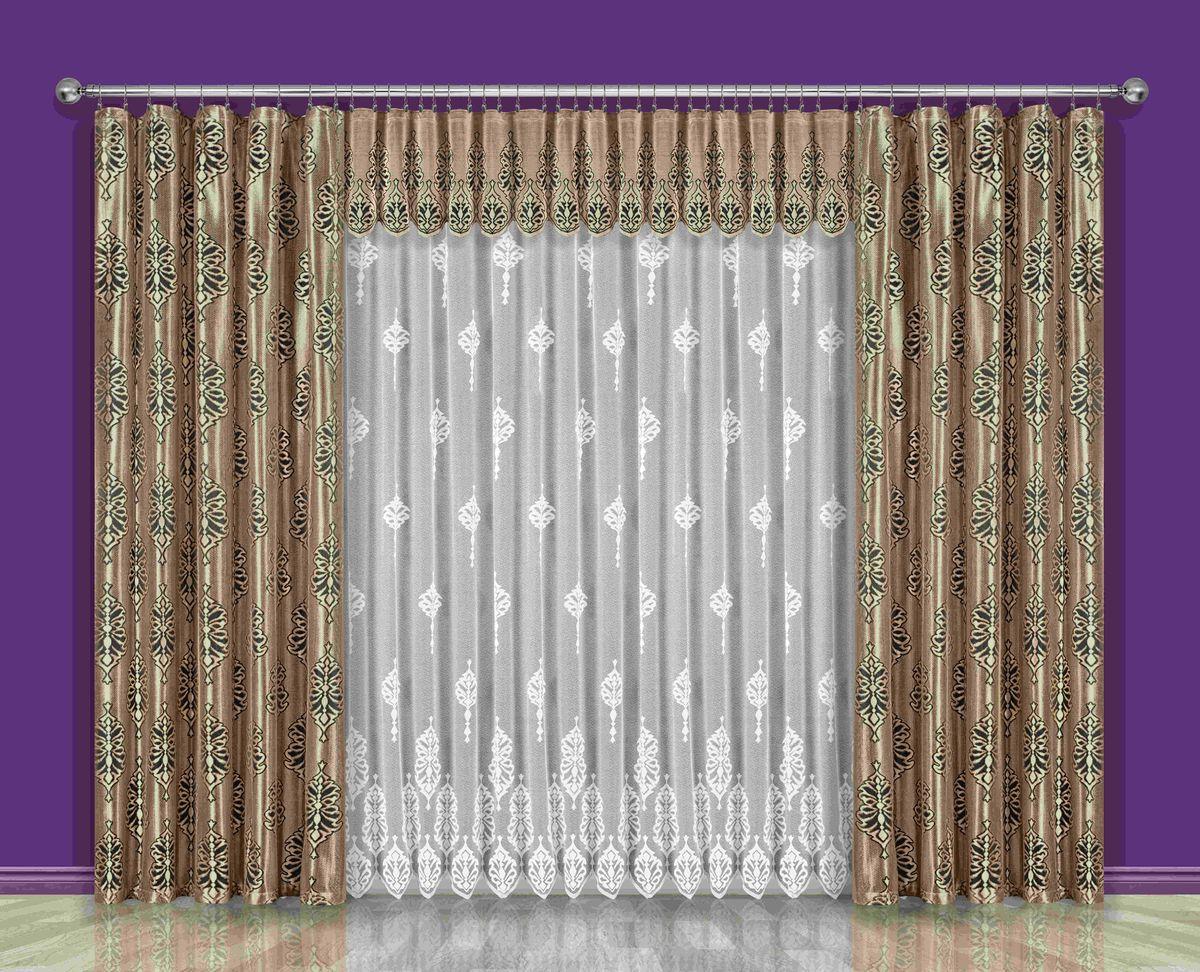 Комплект штор Wisan Konstancja, на ленте, цвет: коричневый, золотой, белый, высота 250 см191WКомплект штор Wisan Konstancja выполненный из полиэстера, великолепно украсит любое окно. Тонкое плетение, оригинальный дизайн привлекут к себе внимание и органично впишутся в интерьер. В комплект входят 2 шторы, тюль и ламбрекен. Кружевной узор придает комплекту особый стиль и шарм. Тонкое жаккардовое плетение, нежная цветовая гамма и роскошное исполнение - все это делает шторы Wisan Konstancja замечательным дополнением интерьера помещения. Комплект оснащен шторной лентой для красивой сборки. В комплект входит: Штора - 2 шт. Размер (ШхВ): 150 см х 250 см. Тюль - 1 шт. Размер (ШхВ): 400 см х 250 см. Ламбрекен - 1 шт. Размер (ШхВ): 500 см х 50 см. Фирма Wisan на польском рынке существует уже более пятидесяти лет и является одной из лучших польских фабрик по производству штор и тканей. Ассортимент фирмы представлен готовыми комплектами штор для гостиной, детской, кухни, а также текстилем для кухни (скатерти, салфетки, дорожки,...