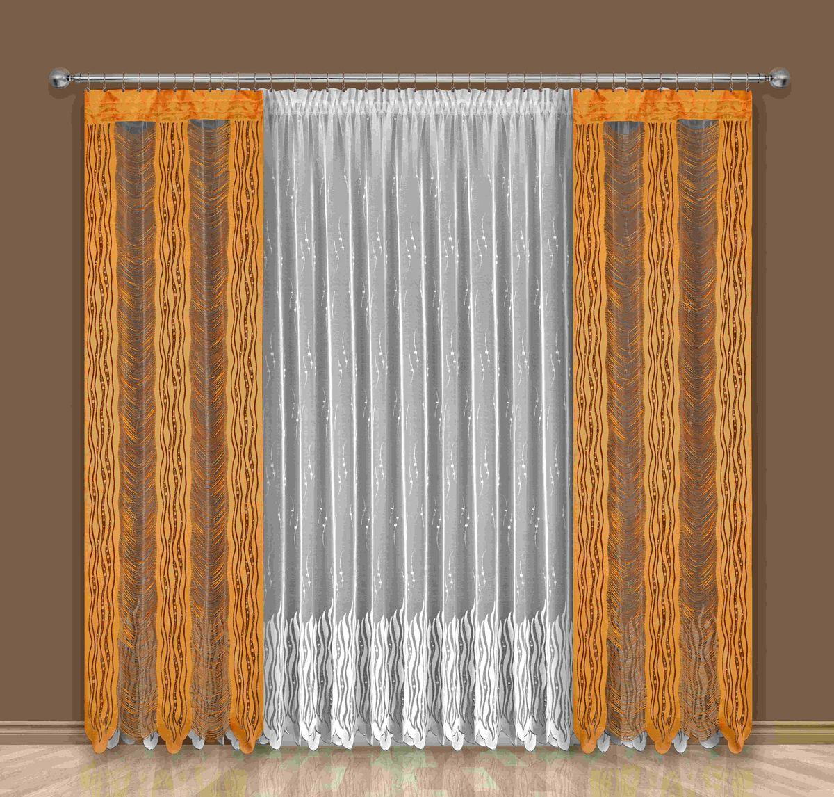 Комплект штор Wisan Alba, на ленте, цвет: белый, оранжевый, высота 250 см192WКомплект штор Wisan Alba выполненный из полиэстера, великолепно украсит любое окно. В комплект входят 2 шторы и тюль. Оригинальный дизайн и бахрома придают комплекту особый стиль и шарм. Качественное плетение, нежная цветовая гамма и роскошное исполнение - все это делает шторы Wisan Alba замечательным дополнением интерьера помещения. Комплект оснащен шторной лентой для красивой сборки. В комплект входит: Штора - 2 шт. Размер (ШхВ): 100 см х 250 см. Тюль - 1 шт. Размер (ШхВ): 400 см х 250 см. Фирма Wisan на польском рынке существует уже более пятидесяти лет и является одной из лучших польских фабрик по производству штор и тканей. Ассортимент фирмы представлен готовыми комплектами штор для гостиной, детской, кухни, а также текстилем для кухни (скатерти, салфетки, дорожки, кухонные занавески). Модельный ряд отличает оригинальный дизайн, высокое качество. Ассортимент продукции постоянно пополняется.