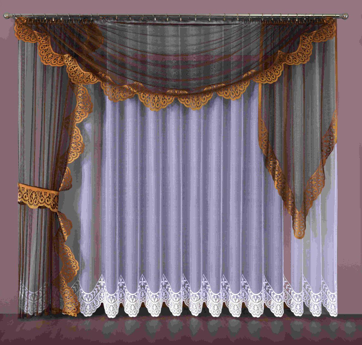 Комплект штор Wisan Aspazja, на ленте, цвет: белый, коричневый, высота 250 см194WКомплект штор Wisan Aspazja выполненный из полиэстера, великолепно украсит любое окно. В комплект входят 2 шторы, тюль, ламбрекен и 2 подхвата. Интересный крой придает комплекту особый стиль и шарм. Тонкое плетение, нежная цветовая гамма и роскошное исполнение - все это делает шторы Wisan Aspazja замечательным дополнением интерьера помещения. Комплект оснащен шторной лентой для красивой сборки. В комплект входит: Штора - 1 шт. Размер (ШхВ): 145 см х 250 см. Штора - 1 шт. Размер (ШхВ): 100 см х 90 см. Тюль - 1 шт. Размер (ШхВ): 400 см х 250 см. Ламбрекен - 1 шт. Размер (ШхВ): 330 см х 145 см. Подхват - 1 шт. Фирма Wisan на польском рынке существует уже более пятидесяти лет и является одной из лучших польских фабрик по производству штор и тканей. Ассортимент фирмы представлен готовыми комплектами штор для гостиной, детской, кухни, а также текстилем для кухни (скатерти, салфетки, дорожки, кухонные занавески)....
