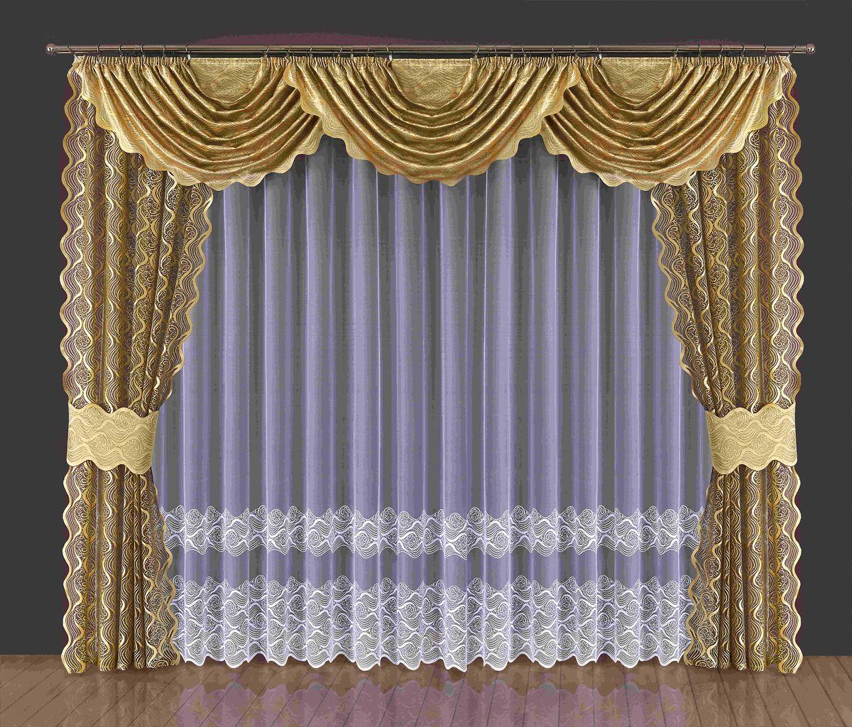 Комплект штор Wisan Domna, на ленте, цвет: золотистый, белый, высота 250 см197WКомплект штор Wisan Domna выполненный из полиэстера, великолепно украсит любое окно. Комплект состоит из 2 штор, тюля, 3 ламбрекенов и 2 подхватов. Кружевной узор придает комплекту особый стиль и шарм. Тонкое жаккардовое плетение, нежная цветовая гамма и роскошное исполнение - все это делает шторы Wisan Domna замечательным дополнением интерьера помещения. Все предметы комплекта оснащены шторной лентой для красивой драпировки. В комплект входит: Штора - 2 шт. Размер (ШхВ): 145 см х 250 см. Тюль - 1 шт. Размер (ШхВ): 400 см х 250 см. Ламбрекен - 3 шт. Размер (ШхВ): 190 см х 150 см. Подхват - 2 шт. Фирма Wisan на польском рынке существует уже более пятидесяти лет и является одной из лучших польских фабрик по производству штор и тканей. Ассортимент фирмы представлен готовыми комплектами штор для гостиной, детской, кухни, а также текстилем для кухни (скатерти, салфетки, дорожки, кухонные занавески). Модельный ряд отличает...