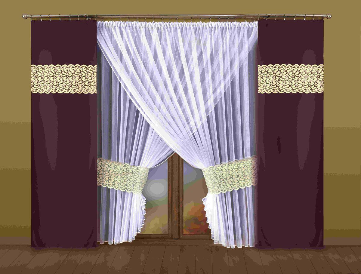 Комплект штор Wisan Euzebia, на ленте, цвет: белый, темно-коричневый, высота 250 см198WКомплект штор Wisan Euzebia выполненный из полиэстера, великолепно украсит любое окно. В комплект входят 2 плотные шторы, тюль и 2 подхвата. Оригинальный дизайн придает комплекту особый стиль и шарм. Качественный материал и тонкое плетение, нежная цветовая гамма и роскошное исполнение - все это делает шторы Wisan Euzebia замечательным дополнением интерьера помещения. Комплект оснащен шторной лентой для красивой сборки. В комплект входит: Тюль - 1 шт. Размер (ШхВ): 400 см х 250 см. Штора - 2 шт. Размер (ШхВ): 70 см х 250 см. Подхват - 2 шт. Фирма Wisan на польском рынке существует уже более пятидесяти лет и является одной из лучших польских фабрик по производству штор и тканей. Ассортимент фирмы представлен готовыми комплектами штор для гостиной, детской, кухни, а также текстилем для кухни (скатерти, салфетки, дорожки, кухонные занавески). Модельный ряд отличает оригинальный дизайн, высокое качество. Ассортимент...
