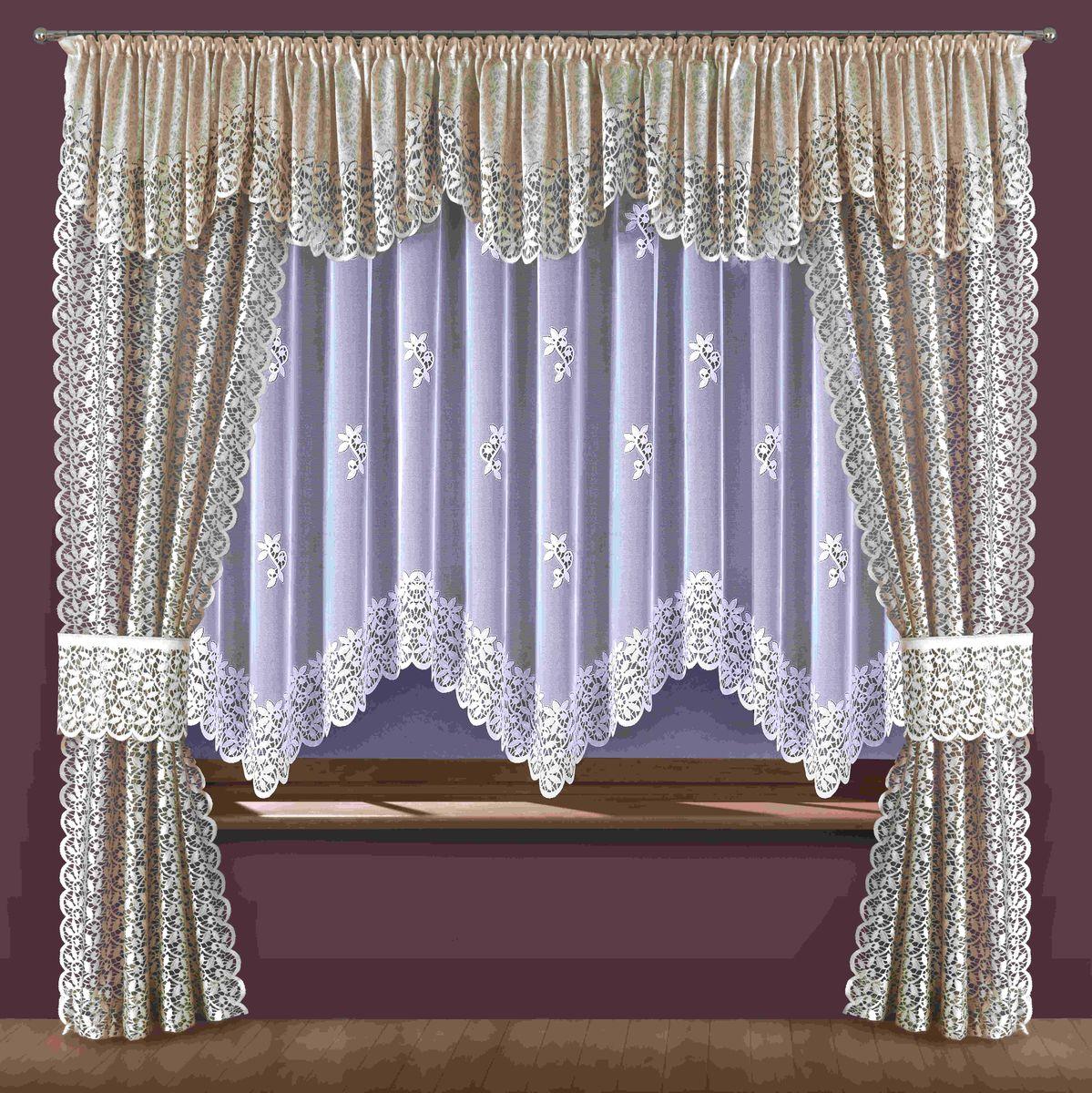Комплект штор для кухни Wisan Ewodia, на ленте, цвет: белый, бежевый, высота 250 см199WКомплект штор Wisan Ewodia, выполненный из полиэстера, великолепно украсит кухонное окно. Тонкое плетение, оригинальный дизайн привлекут к себе внимание и органично впишутся в интерьер. В комплект входят 2 шторы, тюль, ламбрекен и 2 подхвата. Кружевной узор придает комплекту особый стиль и шарм. Тонкое плетение, нежная цветовая гамма и роскошное исполнение - все это делает шторы Wisan Ewodia замечательным дополнением интерьера помещения. Шторы оснащены шторной лентой для красивой сборки. В комплект входит: Штора - 2 шт. Размер (ШхВ): 120 см х 250 см. Тюль - 1 шт. Размер (ШхВ): 360 см х 180 см. Ламбрекен - 1 шт. Размер (ШхВ): 500 см х 55 см. Подхват - 2 шт. Фирма Wisan на польском рынке существует уже более пятидесяти лет и является одной из лучших польских фабрик по производству штор и тканей. Ассортимент фирмы представлен готовыми комплектами штор для гостиной, детской, кухни, а также текстилем для кухни (скатерти,...