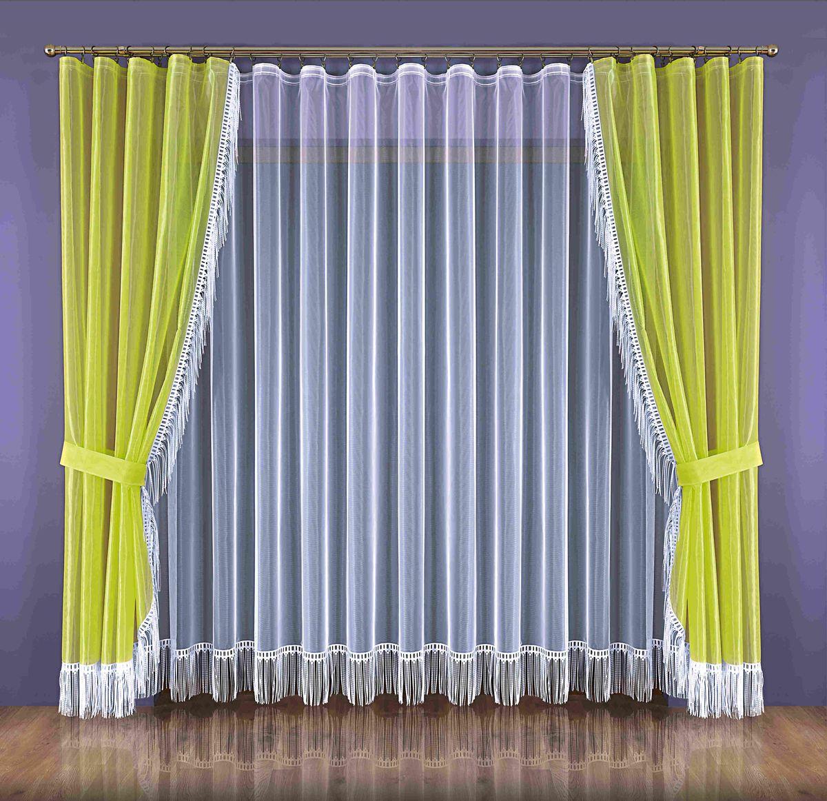 Комплект штор Wisan Zyta, на ленте, цвет: белый, салатовый, высота 250 см266WКомплект штор Wisan Zyta, выполненный из полиэстера, великолепно украсит окно в гостиной или спальне. В комплект входят 2 шторы, тюль и 2 подхвата. Бахрома придает комплекту особый стиль и шарм. Тонкое плетение, нежная цветовая гамма и роскошное исполнение - все это делает шторы Wisan Zyta замечательным дополнением интерьера комнаты. Шторы оснащены шторной лентой для красивой сборки, а также двумя подхватами. В комплект входит: Штора - 2 шт. Размер (ШхВ): 150 см х 250 см. Тюль - 1 шт. Размер (ШхВ): 300 см х 250 см. Подхват - 2 шт.
