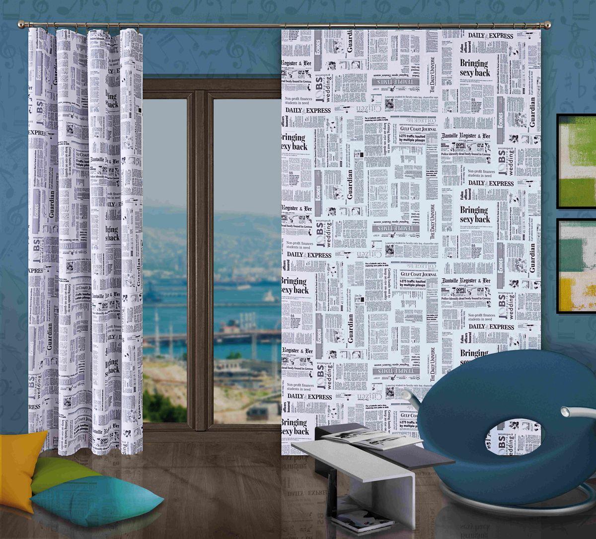 Комплект гардин-панно Wisan Gazeta, на ленте, цвет: белый, черный, высота 250 см267WКомплект гардин-панно Wisan Gazeta, изготовленный из полиэстера, станет великолепным украшением любого окна. В комплект входят 2 белые гардины с изображением газетных статей. Качественный материал, оригинальный дизайн и приятная цветовая гамма привлекут к себе внимание и органично впишутся в интерьер. Комплект оснащен шторной лентой для красивой сборки. Размер гардин-панно: 150 см х 250 см. Фирма Wisan на польском рынке существует уже более пятидесяти лет и является одной из лучших польских фабрик по производству штор и тканей. Ассортимент фирмы представлен готовыми комплектами штор для гостиной, детской, кухни, а также текстилем для кухни (скатерти, салфетки, дорожки, кухонные занавески). Модельный ряд отличает оригинальный дизайн, высокое качество. Ассортимент продукции постоянно пополняется.