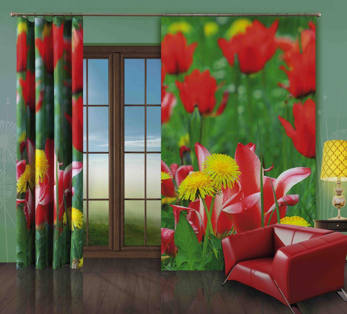 Комплект гардин-панно Wisan Tulipany, на ленте, цвет: зеленый, красный, высота 250 см272WКомплект гардин-панно Wisan Tulipany, изготовленный из полиэстера, станет великолепным украшением любого окна. В комплект входят 2 плотные гардины с изображением летнего луга. Качественный материал, оригинальный дизайн и приятная цветовая гамма привлекут к себе внимание и органично впишутся в интерьер. Комплект оснащен шторной лентой для красивой сборки. Размер гардин-панно: 150 см х 250 см. Фирма Wisan на польском рынке существует уже более пятидесяти лет и является одной из лучших польских фабрик по производству штор и тканей. Ассортимент фирмы представлен готовыми комплектами штор для гостиной, детской, кухни, а также текстилем для кухни (скатерти, салфетки, дорожки, кухонные занавески). Модельный ряд отличает оригинальный дизайн, высокое качество. Ассортимент продукции постоянно пополняется.