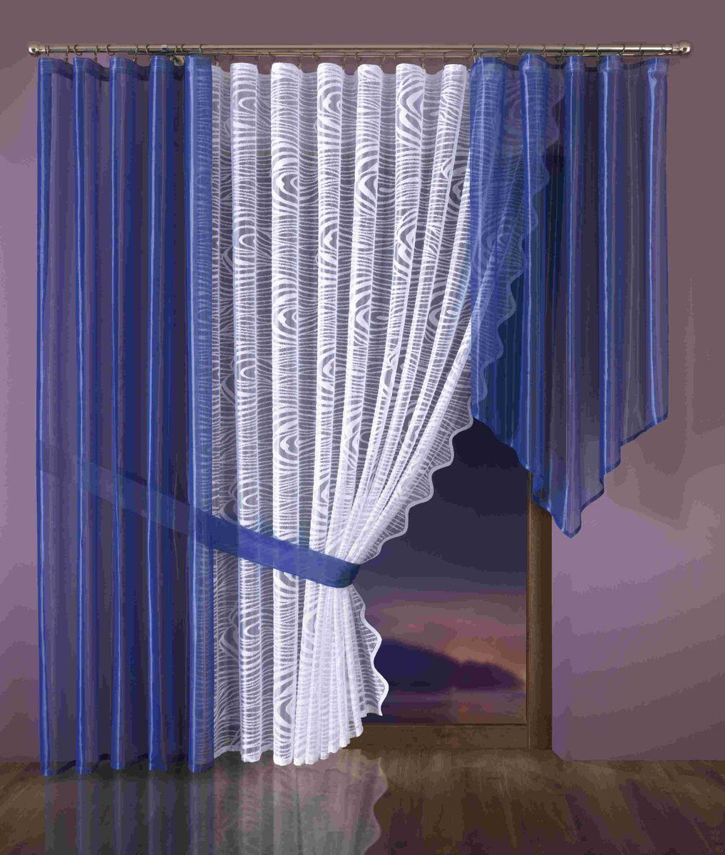 Комплект штор Wisan Klaudyna, на ленте, цвет: белый, синий, высота 250 см