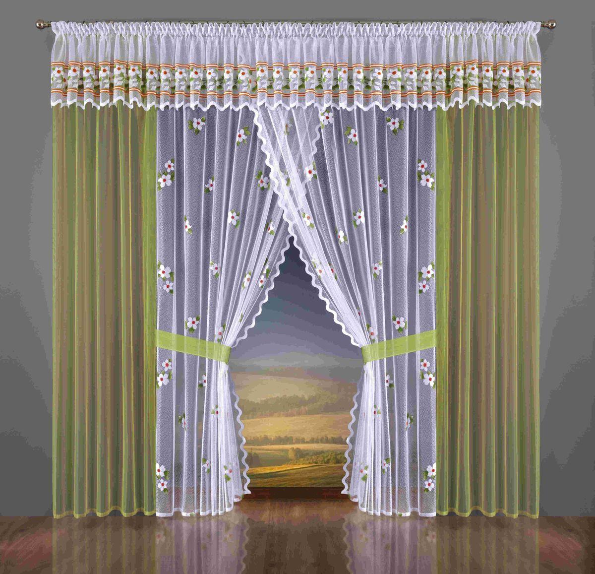 Комплект штор Wisan Rachela, на ленте, цвет: белый, зеленый, высота 250 см337WКомплект штор Wisan Rachela выполненный из полиэстера, великолепно украсит любое окно. В комплект входят 2 шторы, 2 тюля, ламбрекен и 2 подхвата. Яркий цветочный рисунок придает комплекту особый стиль и шарм. Тонкое плетение, нежная цветовая гамма и роскошное исполнение - все это делает шторы Wisan Rachela замечательным дополнением интерьера помещения. Комплект оснащен шторной лентой для красивой сборки. В комплект входит: Штора - 2 шт. Размер (ШхВ): 100 см х 250 см. Тюль - 2 шт. Размер (ШхВ): 150 см х 250 см. Ламбрекен - 1 шт. Размер (ШхВ): 750 см х 45 см. Подхват - 2 шт. Фирма Wisan на польском рынке существует уже более пятидесяти лет и является одной из лучших польских фабрик по производству штор и тканей. Ассортимент фирмы представлен готовыми комплектами штор для гостиной, детской, кухни, а также текстилем для кухни (скатерти, салфетки, дорожки, кухонные занавески). Модельный ряд отличает оригинальный...